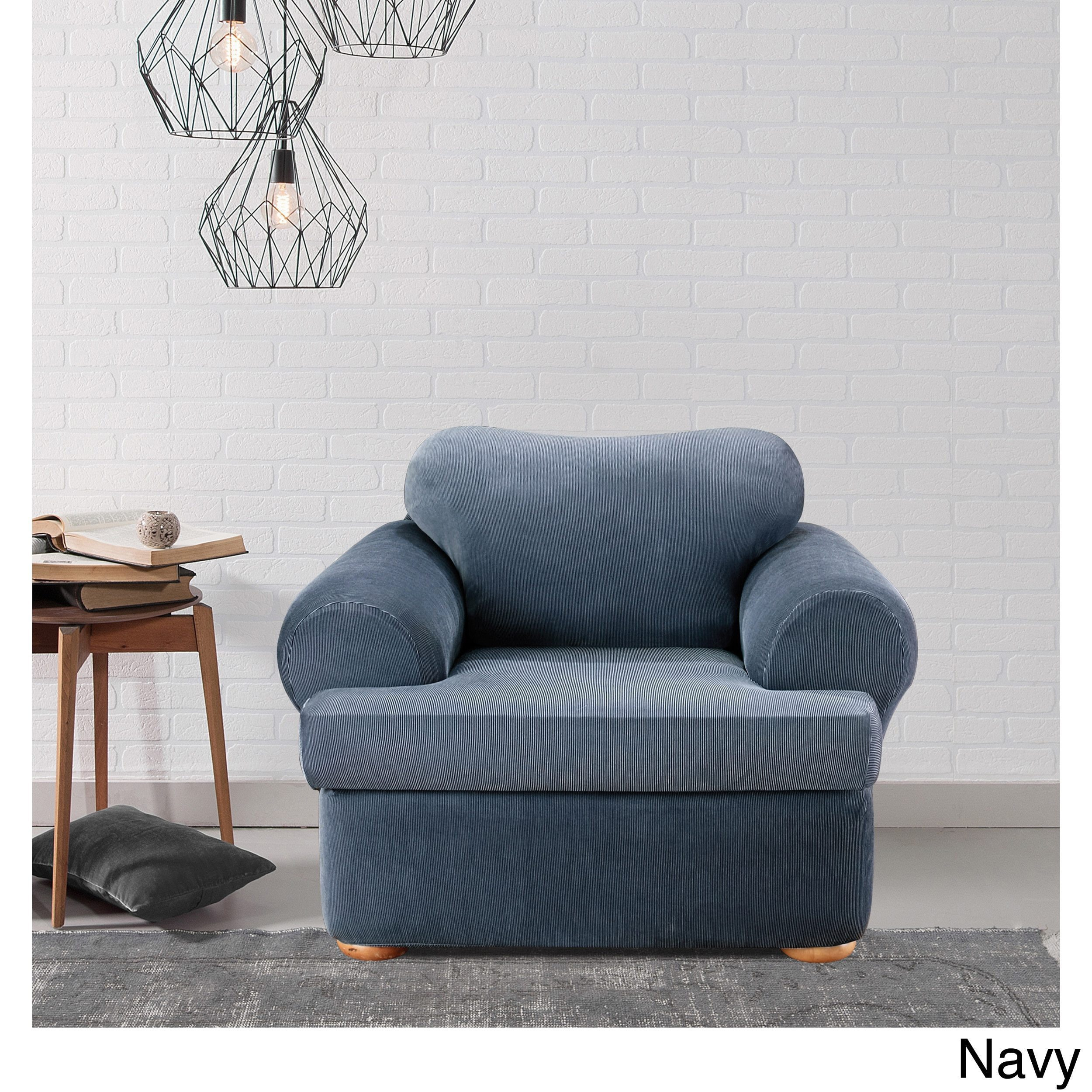 Shop Sure Fit Stretch Stripe 2 Piece T Cushion Chair Slipcover   On Sale    Free Shipping Today   Overstock.com   5151313