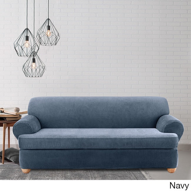 Shop Sure Fit Stretch Stripe 2 Piece T Cushion Sofa Slipcover   Free  Shipping Today   Overstock.com   5151320
