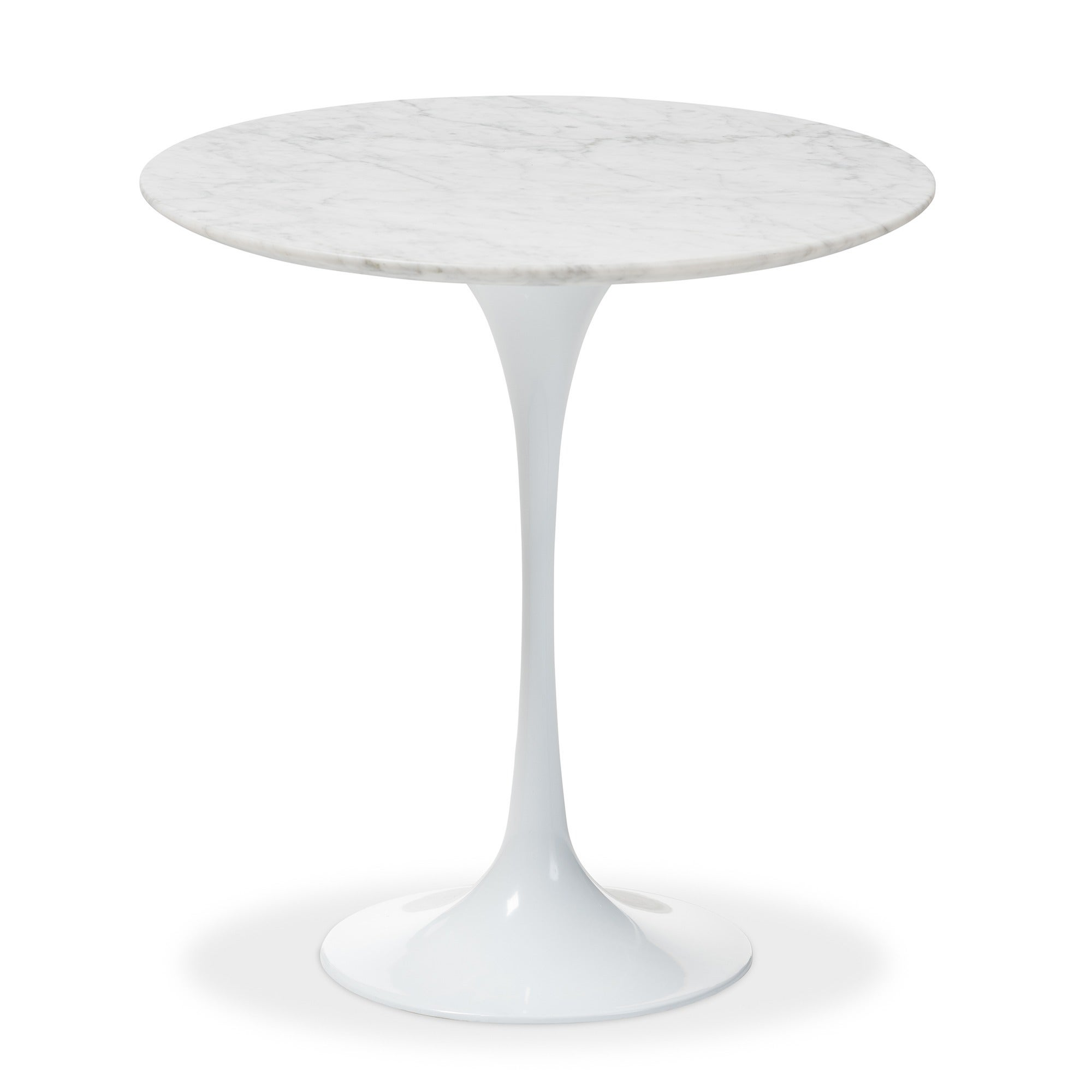 Shop Immer White Marble Mid Century Style End Table   Free Shipping Today    Overstock.com   5151772
