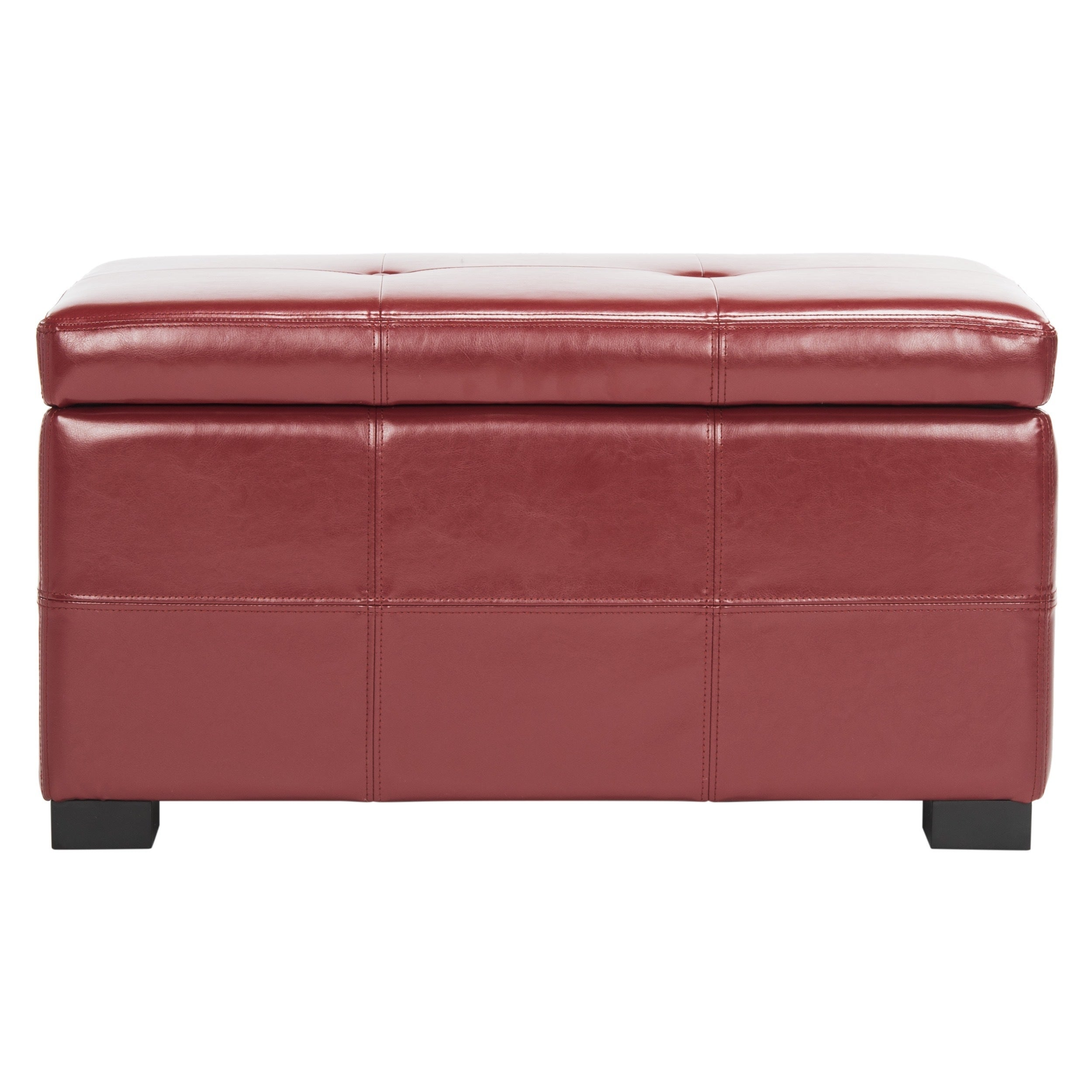 Safavieh Maiden Tufted Red Bicast Leather Storage Bench Free Shipping Today 5151890