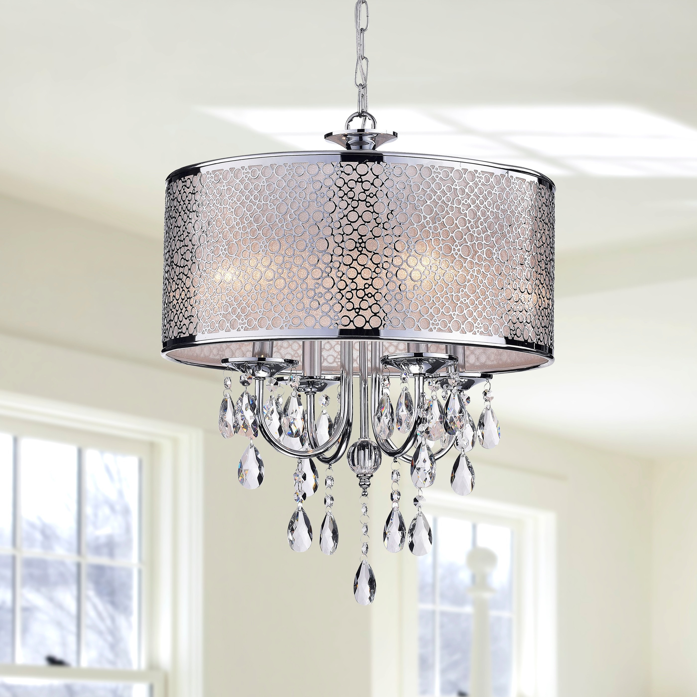 Indoor 4 light chrome crystal white shades chandelier free indoor 4 light chrome crystal white shades chandelier free shipping today overstock 12994824 arubaitofo Image collections