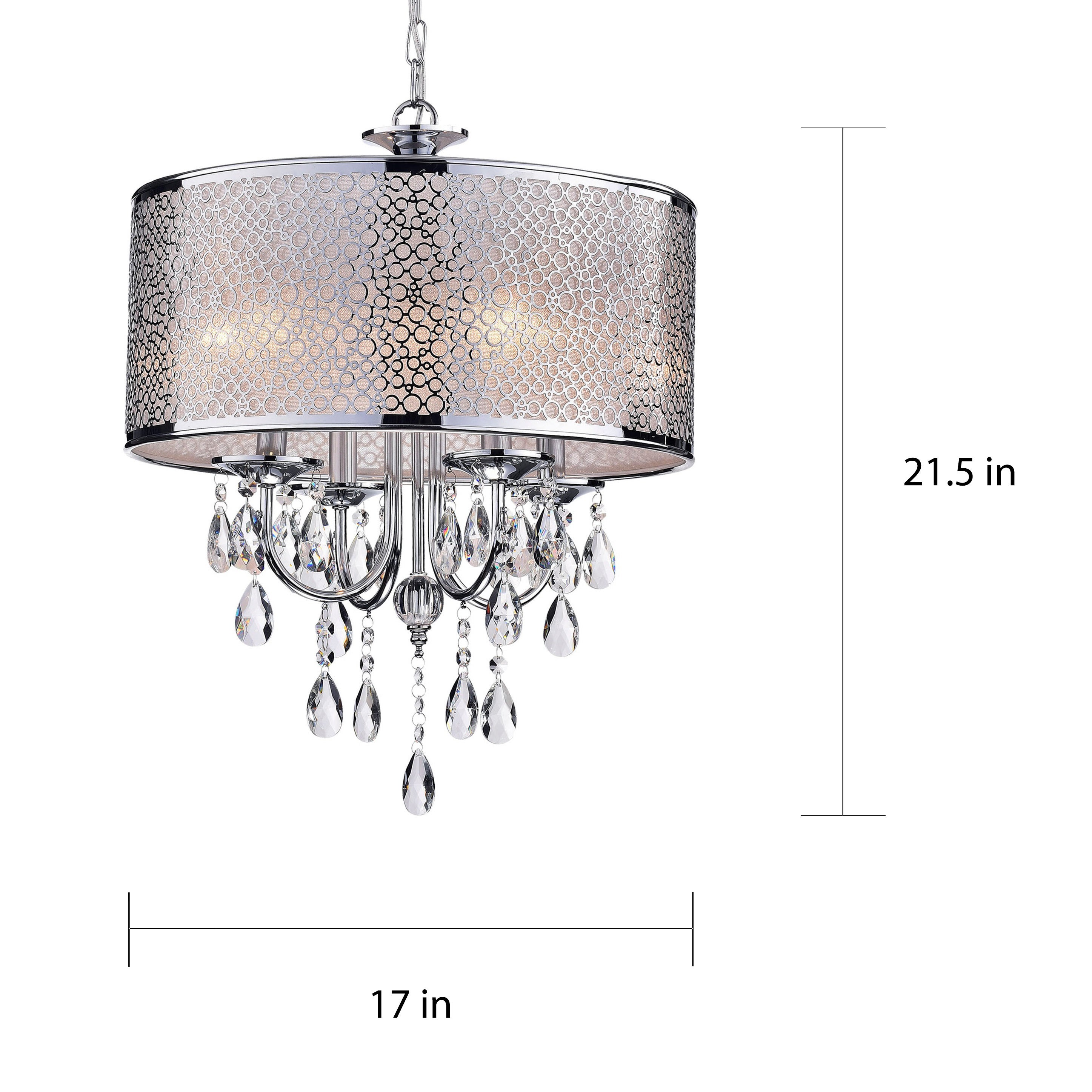 Indoor 4 Light Chrome Crystal White Shades Chandelier Free Today Com 5152200