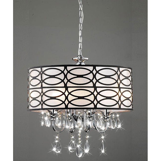 Shop indoor 4 light chrome crystal antique bronze shade chandelier shop indoor 4 light chrome crystal antique bronze shade chandelier free shipping today overstock 5152201 aloadofball