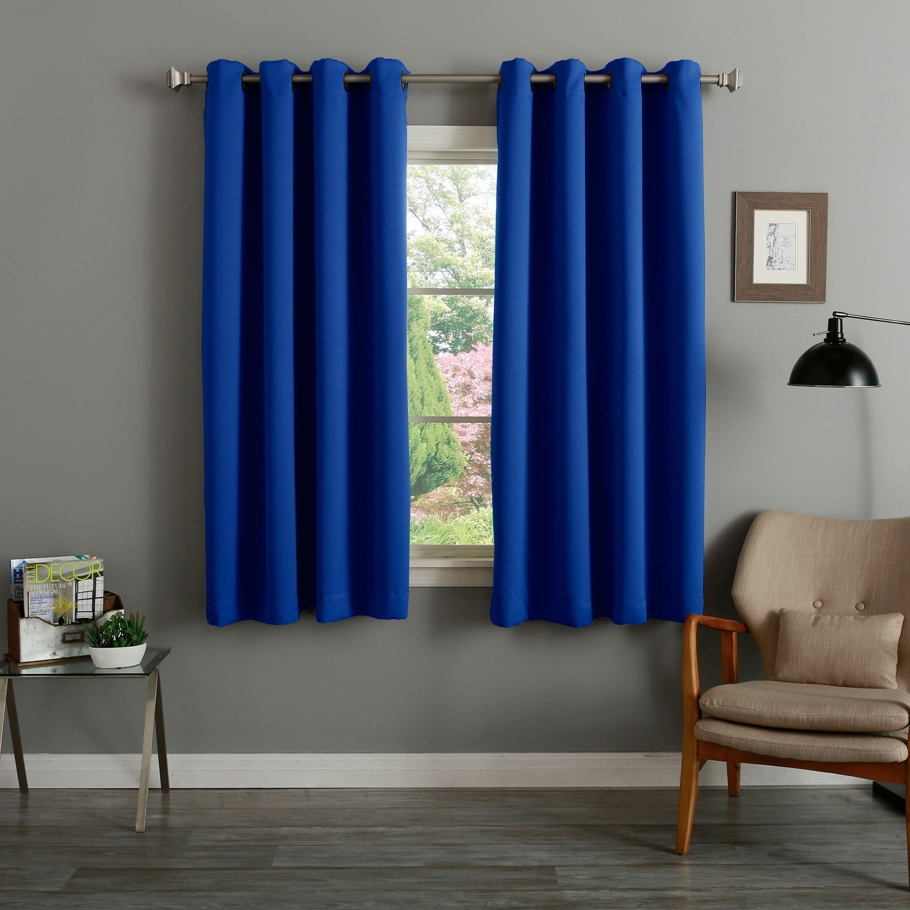 Shop Aurora Home Grommet Top Thermal Insulated Blackout 64-inch ...