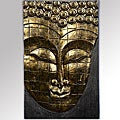 Handmade Rain Tree Wood Antique Gold Buddha Face Wall Hanging (Indonesia)