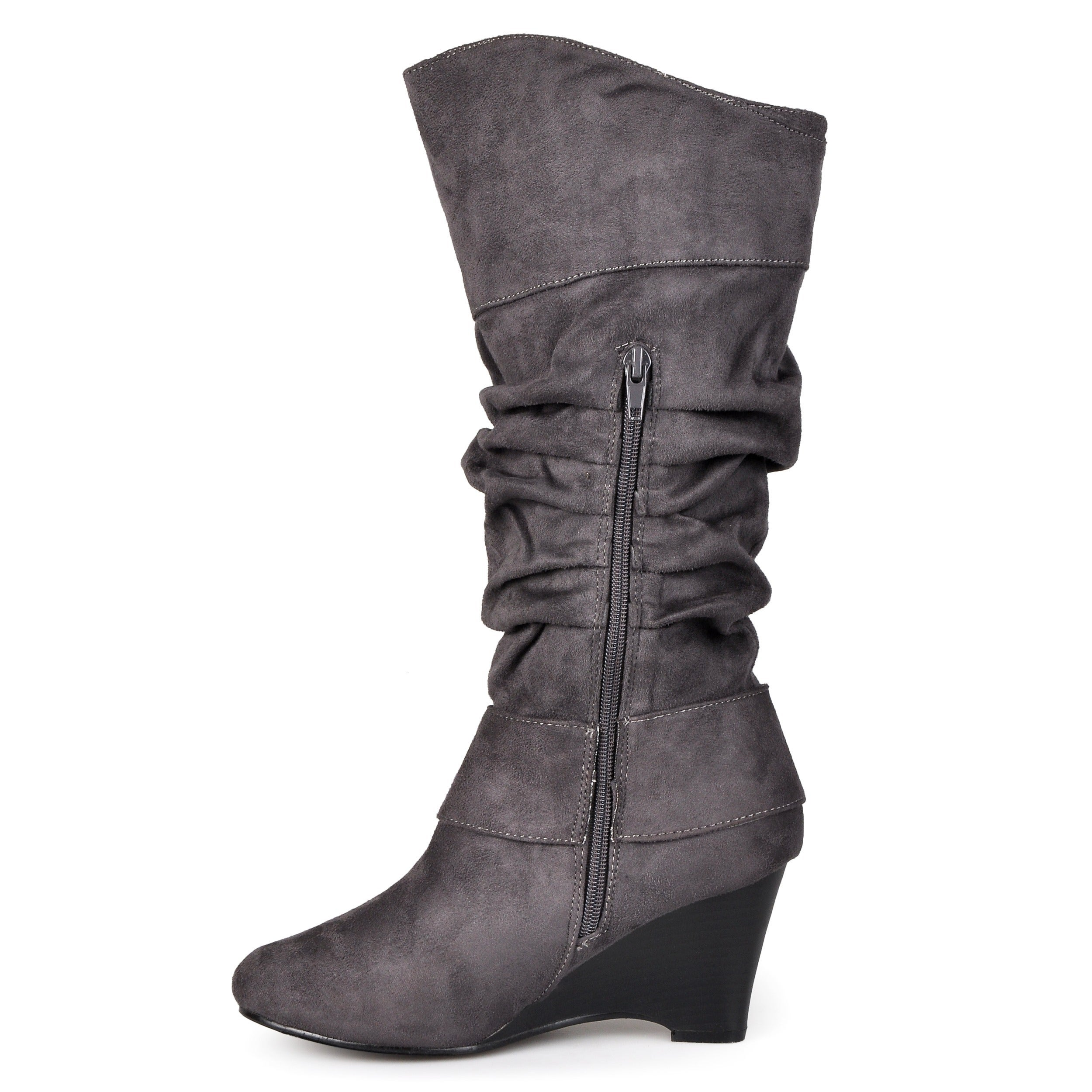70f4c5bd01cd Shop Journee Collection Women's Regular and Wide-Calf 'Irene-1' Buckle  Slouch Wedge Knee-High Boots - Free Shipping Today - Overstock - 5162852