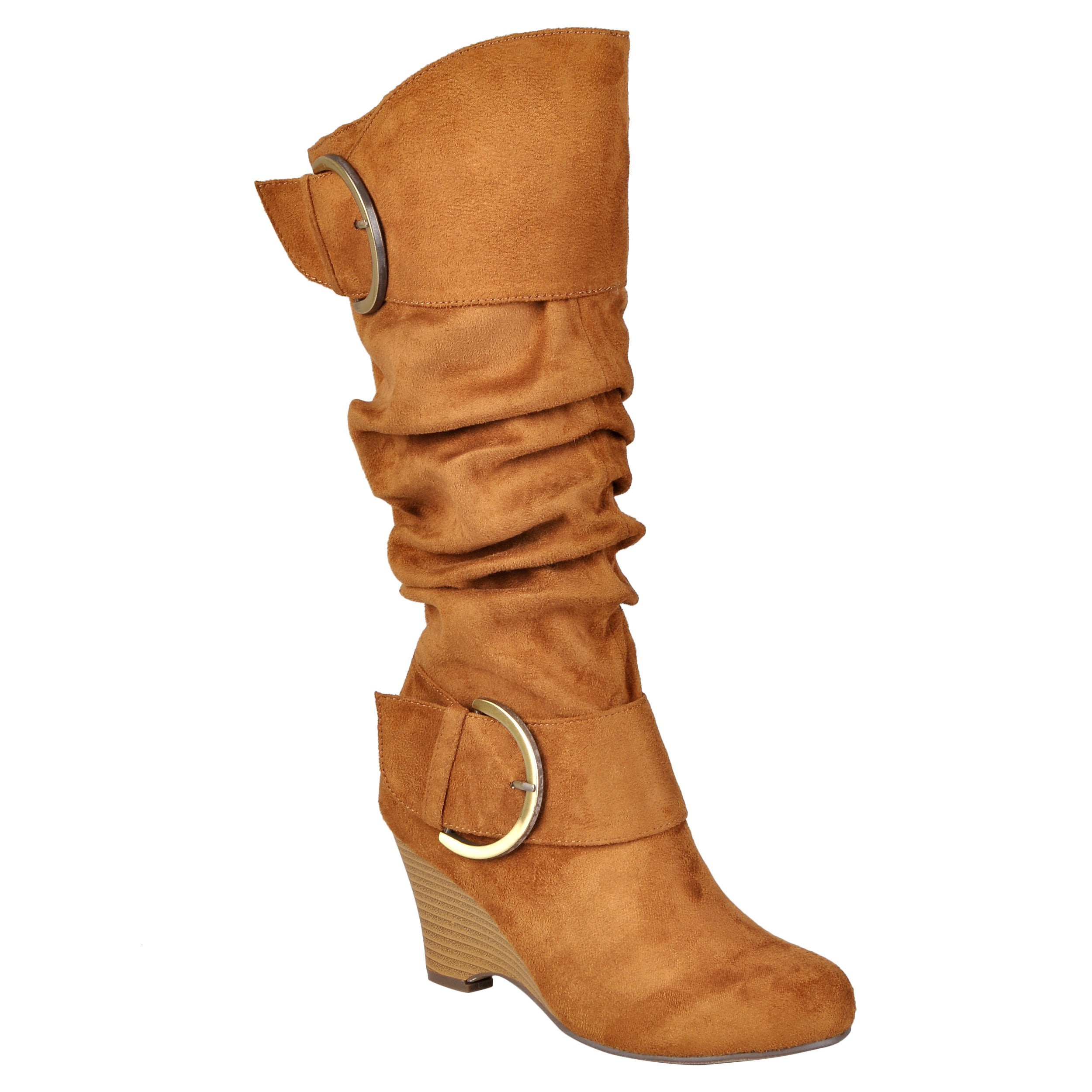 e5e3484bc8a Journee Collection Women s Regular and Wide-Calf  Irene-1  Buckle Slouch  Wedge Knee-High Boots