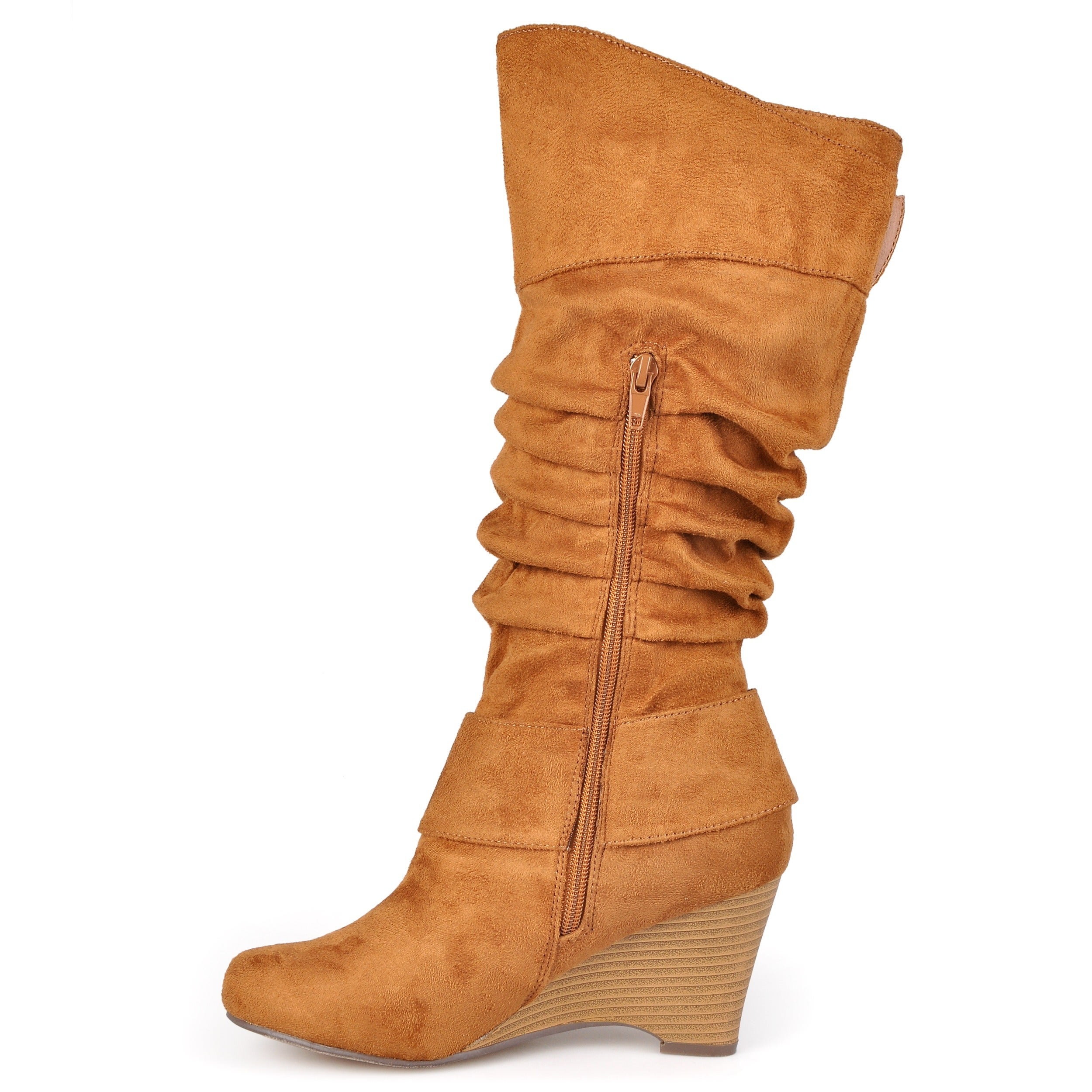 11136bf48f0 Shop Journee Collection Women s Regular and Wide-Calf  Irene-1  Buckle  Slouch Wedge Knee-High Boots - Free Shipping Today - Overstock - 5162852