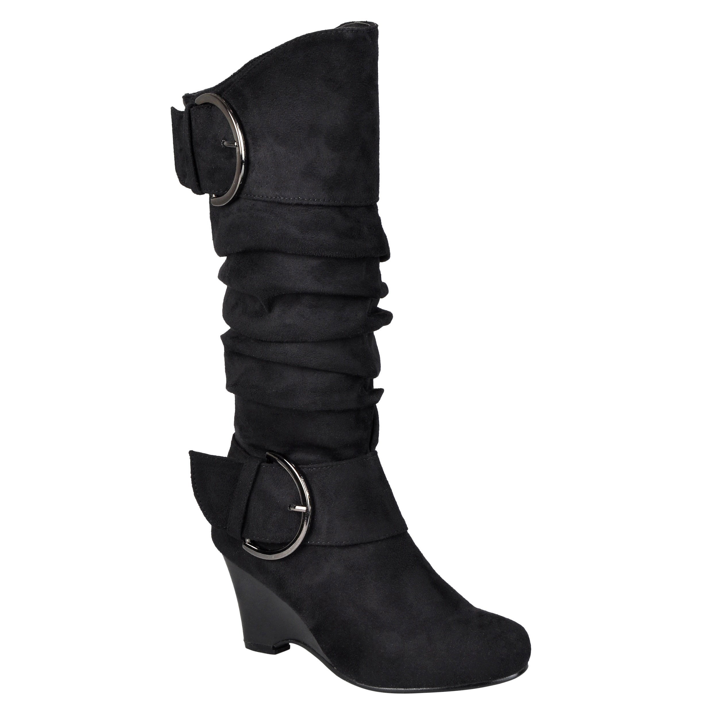 b418cbab433 Journee Collection Women s Regular and Wide-Calf  Irene-1  Buckle Slouch  Wedge Knee-High Boots