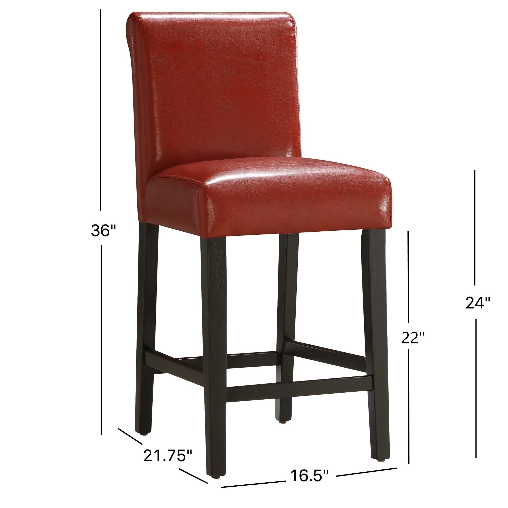 Shop Bennett 24 Inches Red Faux Leather High Back Bar Stools Set Of