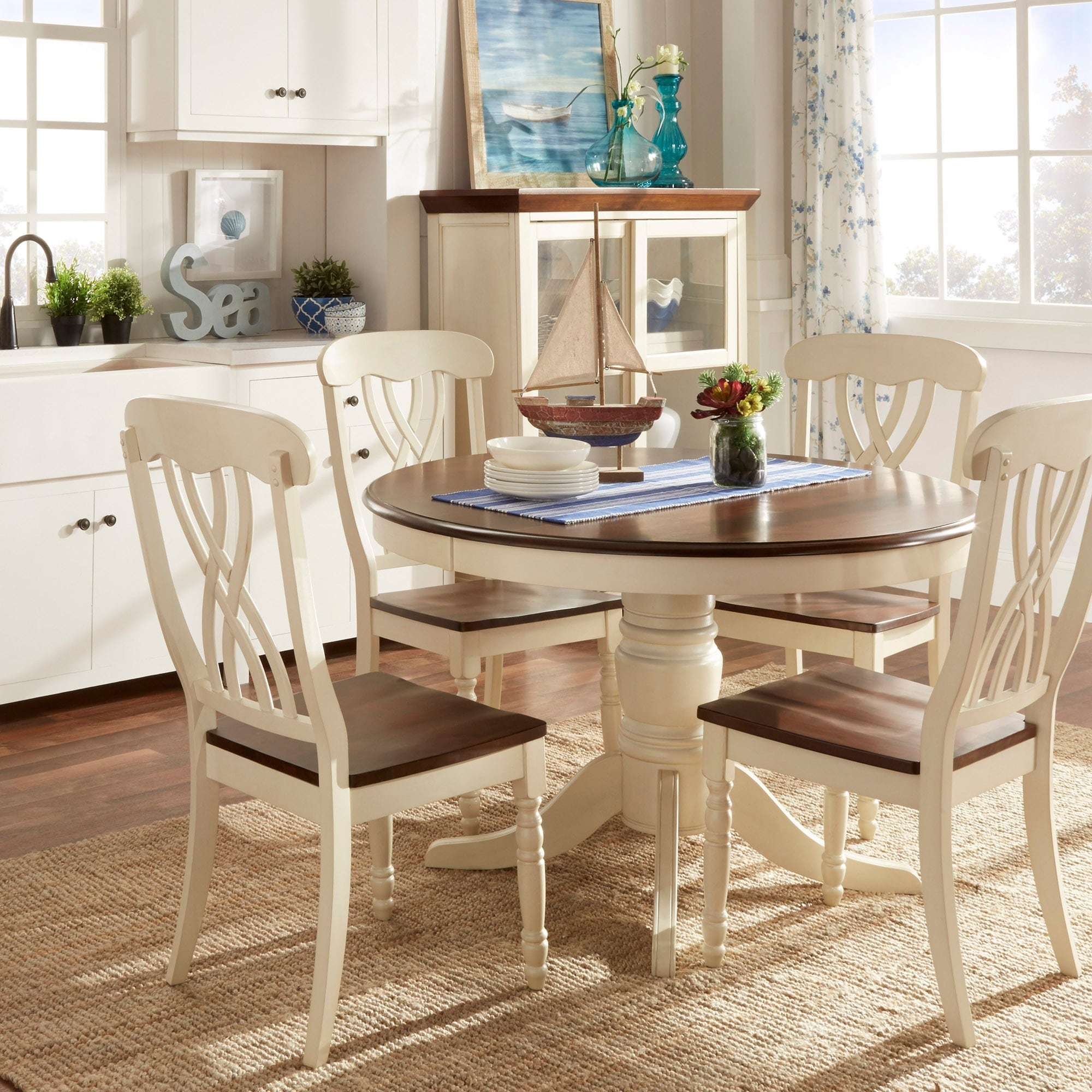 Shop Mackenzie Country Style Two Tone Round Scroll Back Dining Set