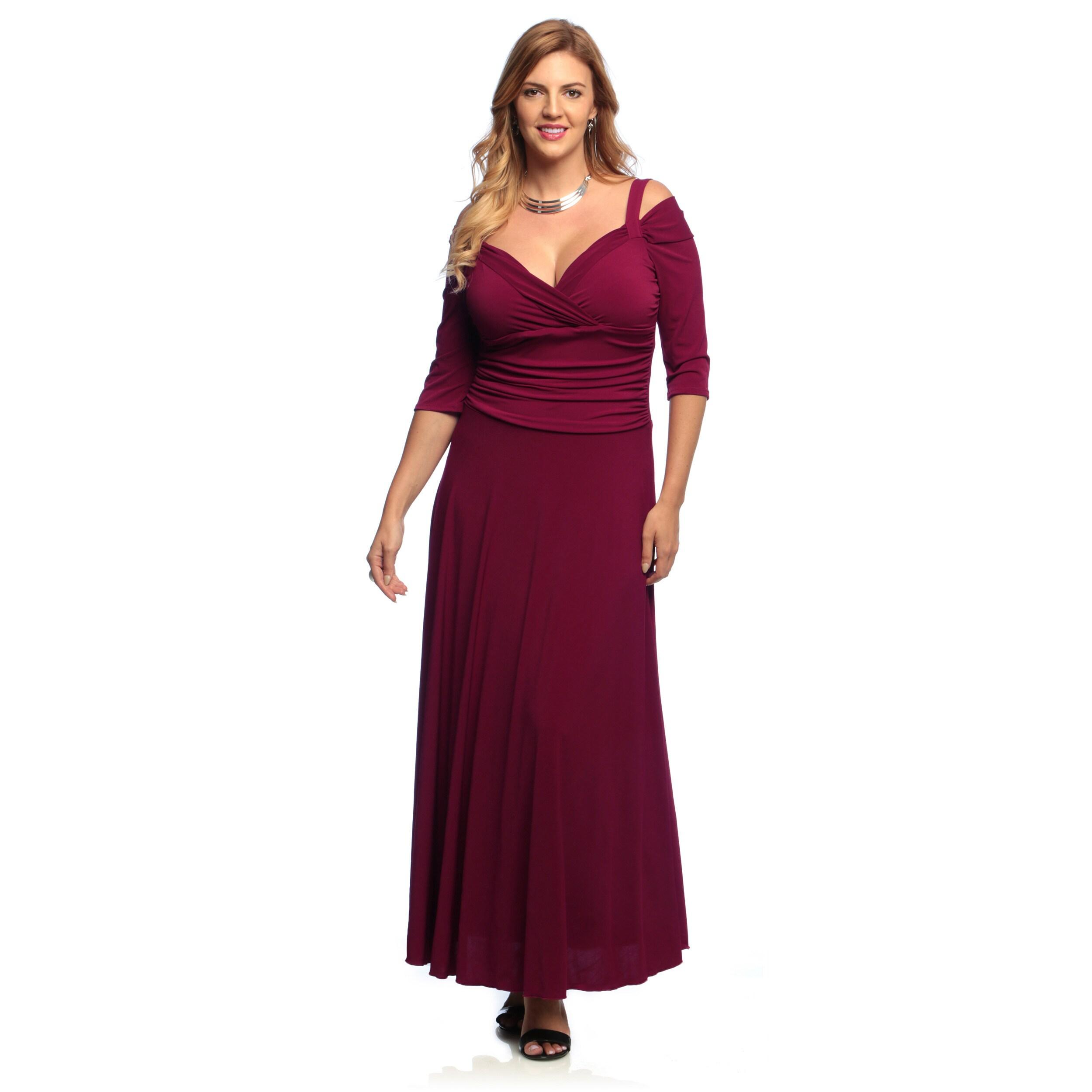 Shop Evanese Women\'s Plus Size 3/4-sleeve Long Dress - Free Shipping ...