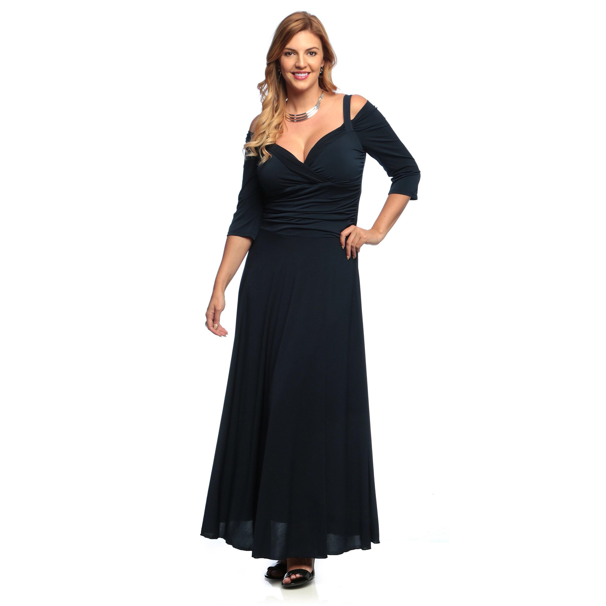 Evanese Womens Plus Size 34 Sleeve Long Dress Free Shipping