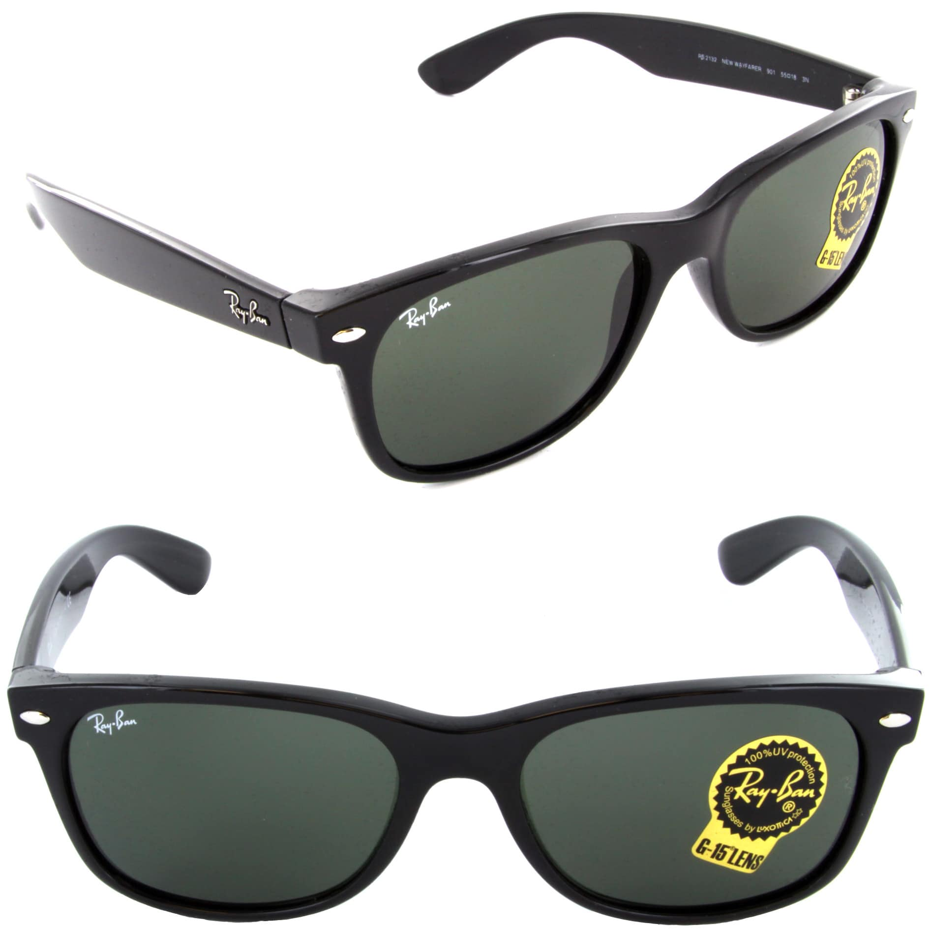 ba2659b04c2 Shop Ray-Ban New Wayfarer Classic RB 2132 Unisex Black Frame Green Classic Lens  Sunglasses - Free Shipping Today - Overstock - 5173946