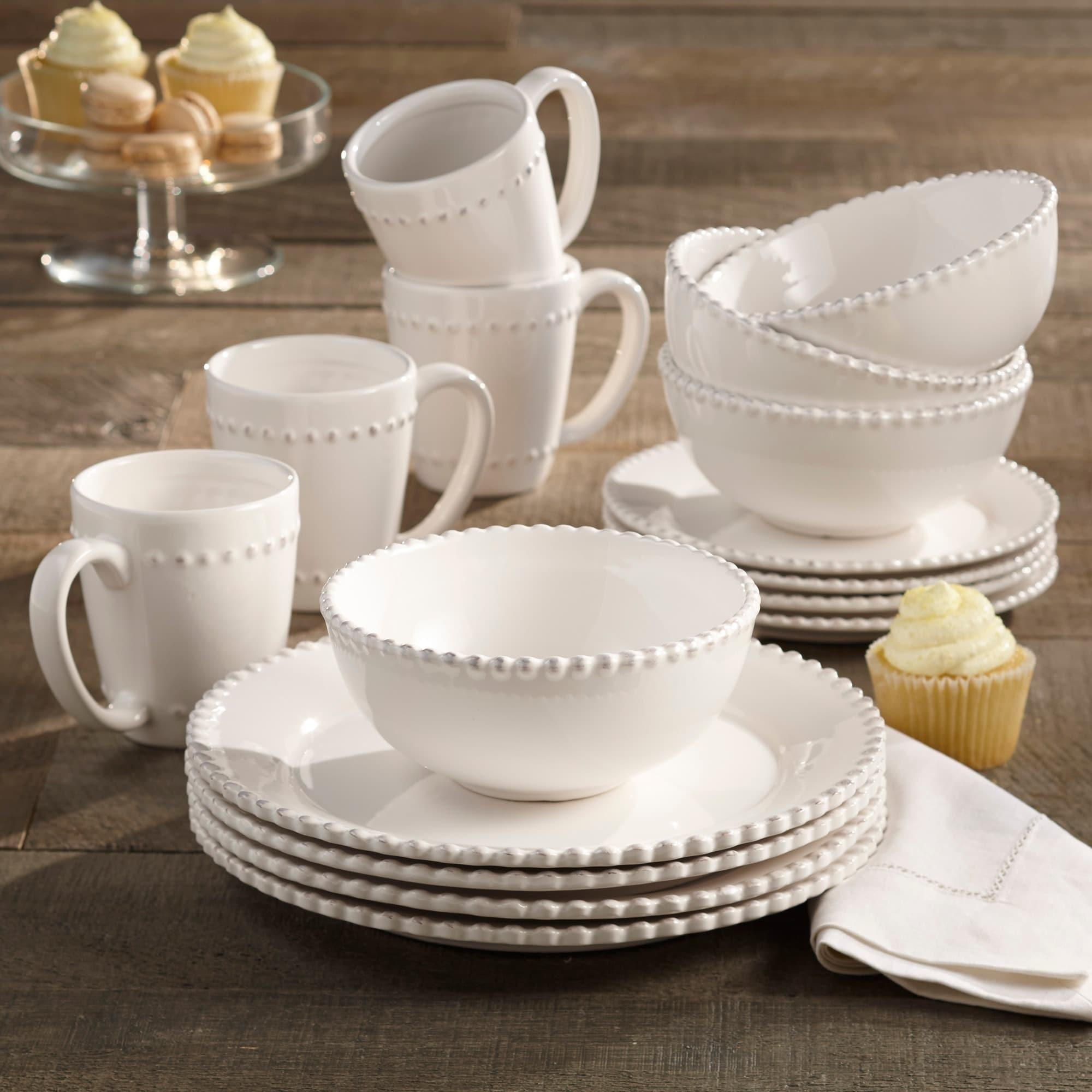 American Atelier Bianca Bead 16-piece Dinnerware Set - Free Shipping Today - Overstock - 13025720 & American Atelier Bianca Bead 16-piece Dinnerware Set - Free Shipping ...
