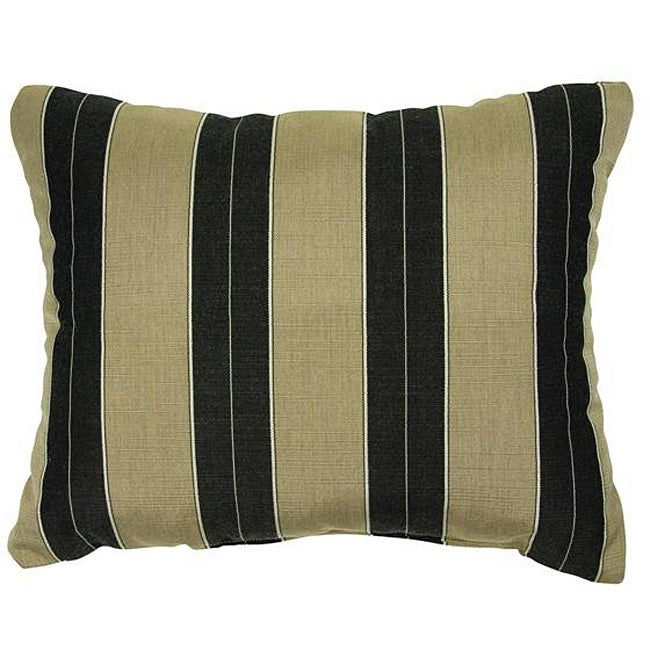 Cocoa Black Stripe Knife Edge Indoor Outdoor Pillows With Sunbrella Fabric Set Of 2