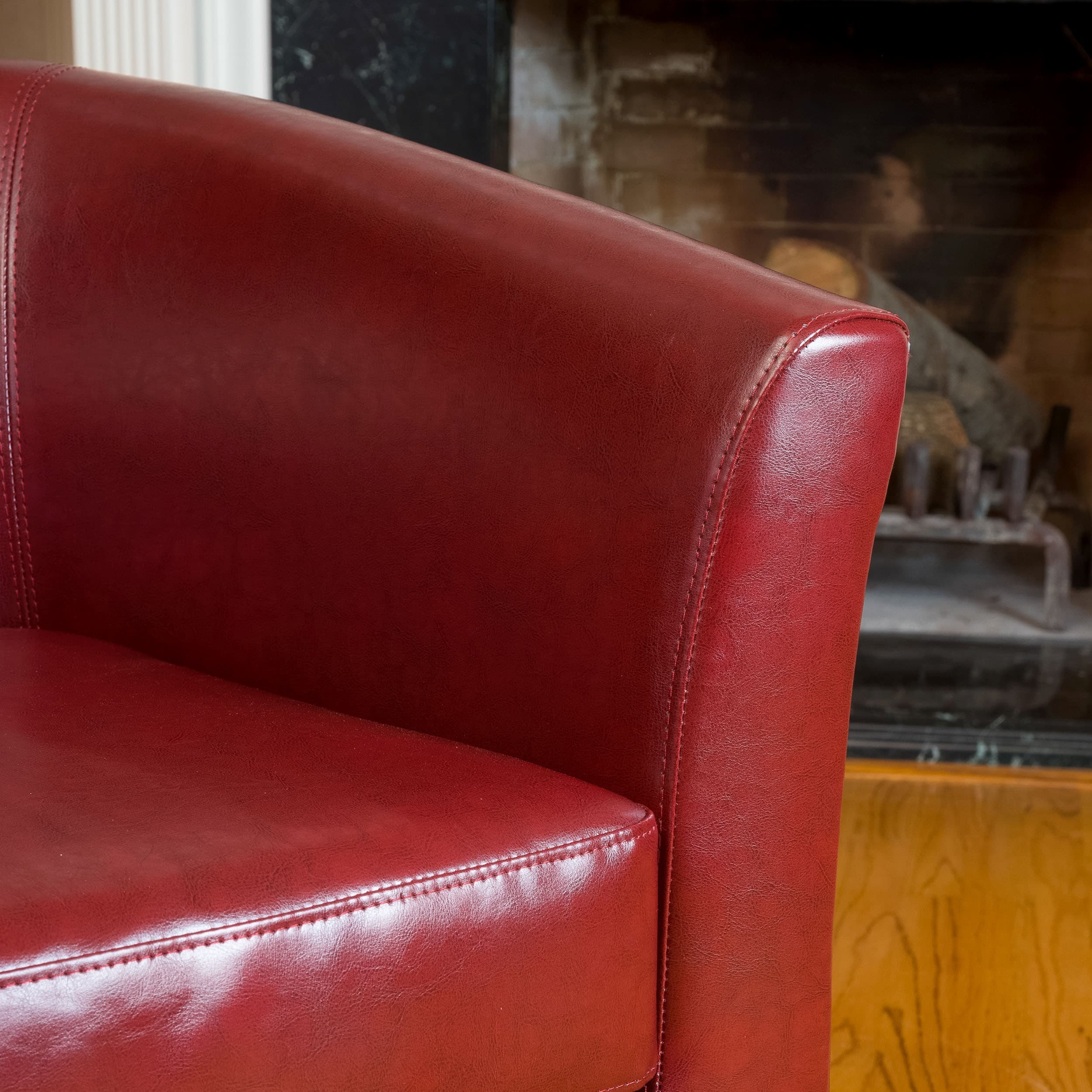 oxblood red bonded leather tub club chair by christopher knight