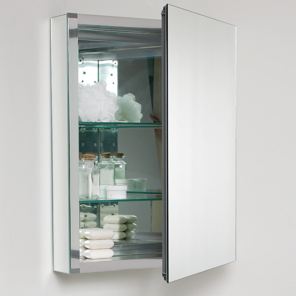 Shop Fresca Small Bathroom Mirror Medicine Cabinet - Free Shipping ...