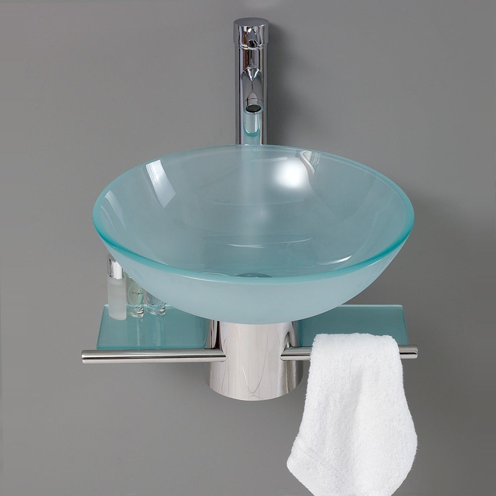 Shop Fresca Cristallino Glass Bathroom Vanity - Free Shipping Today ...