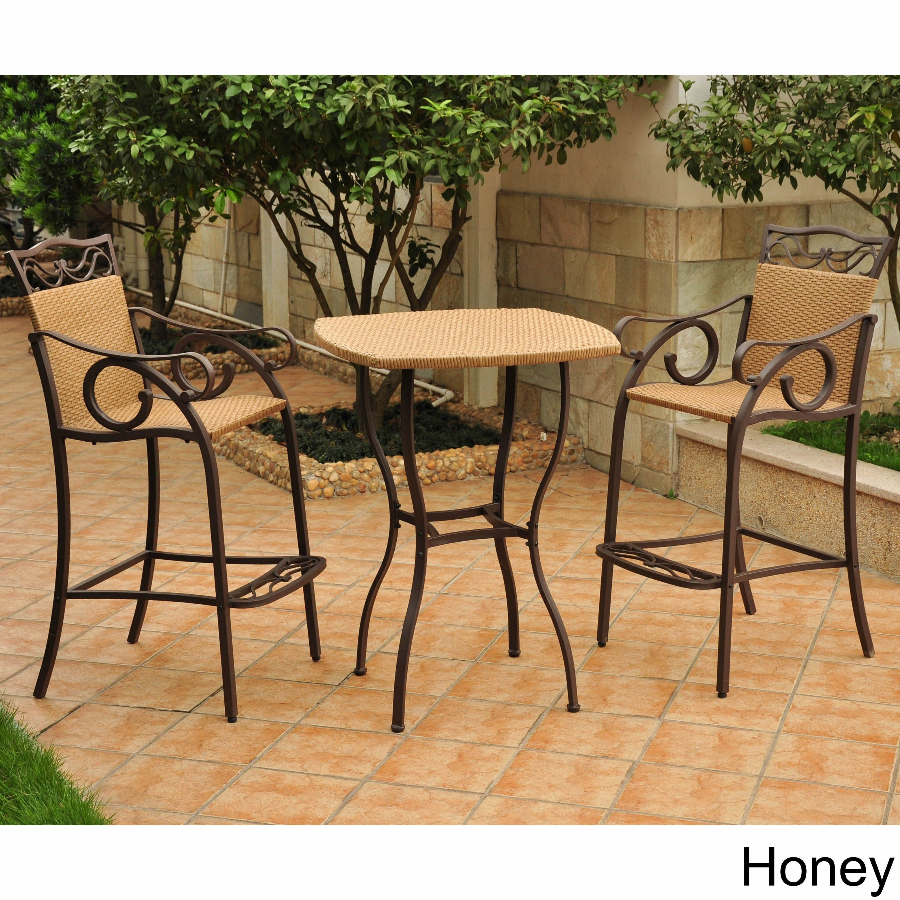 International Caravan Valencia Resin Wicker Steel 3 Piece Bar Height Bistro Set On Free Shipping Today 5206099