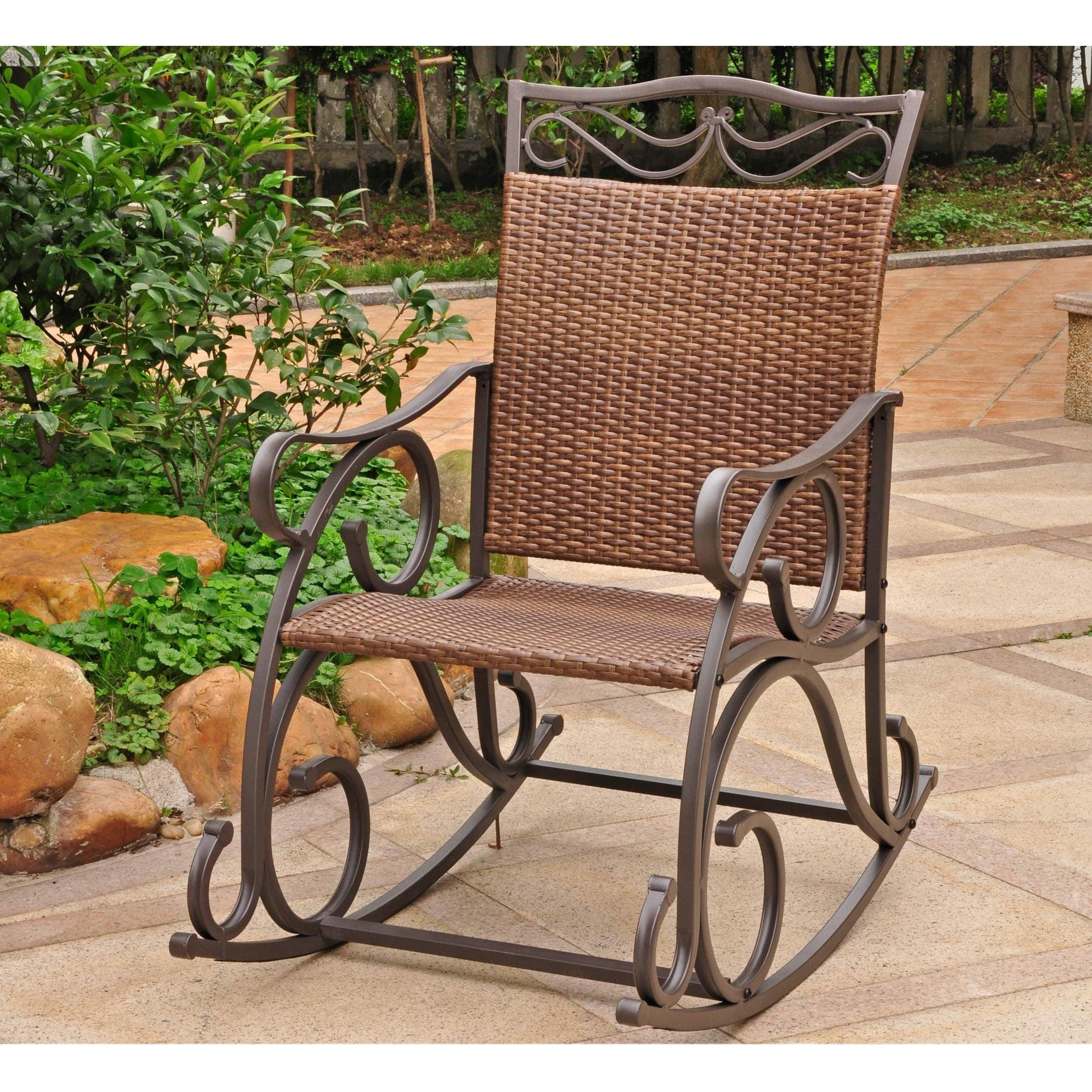 International caravan valencia resin wicker steel frame rocking chair