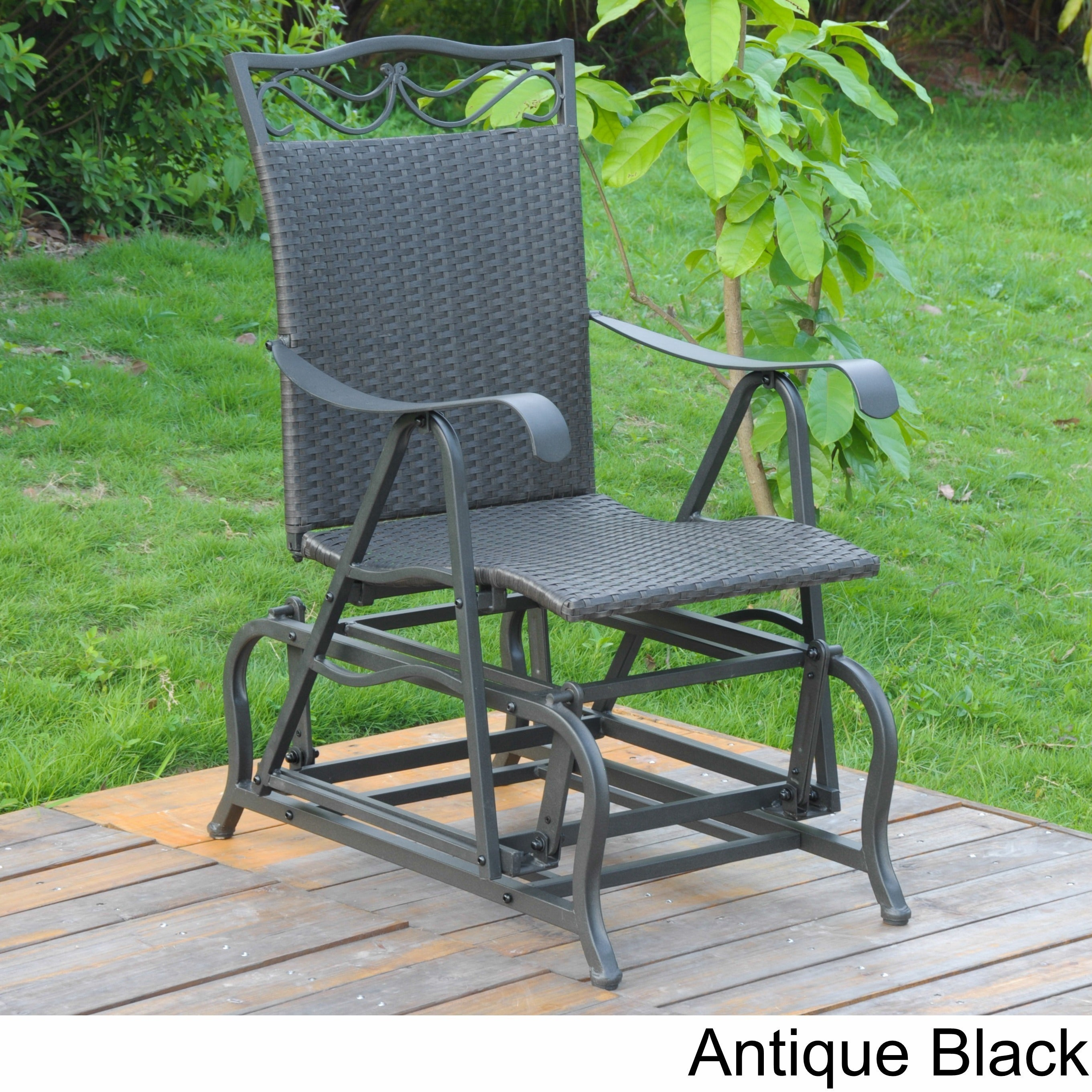 Shop International Caravan Valencia Resin Wicker And Steel Frame Single  Glider Chair   On Sale   Free Shipping Today   Overstock.com   5206111