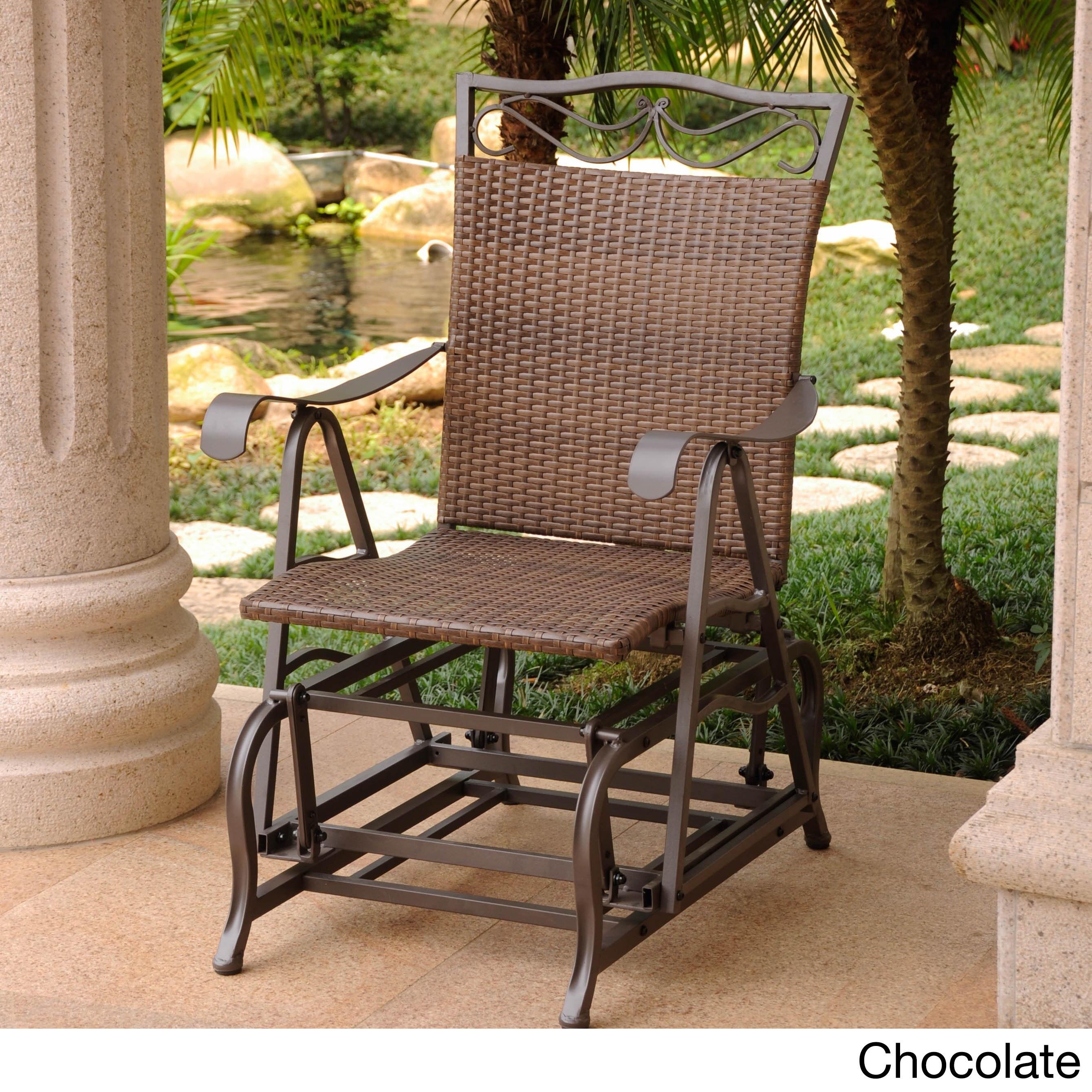 International caravan valencia resin wicker and steel frame single glider chair