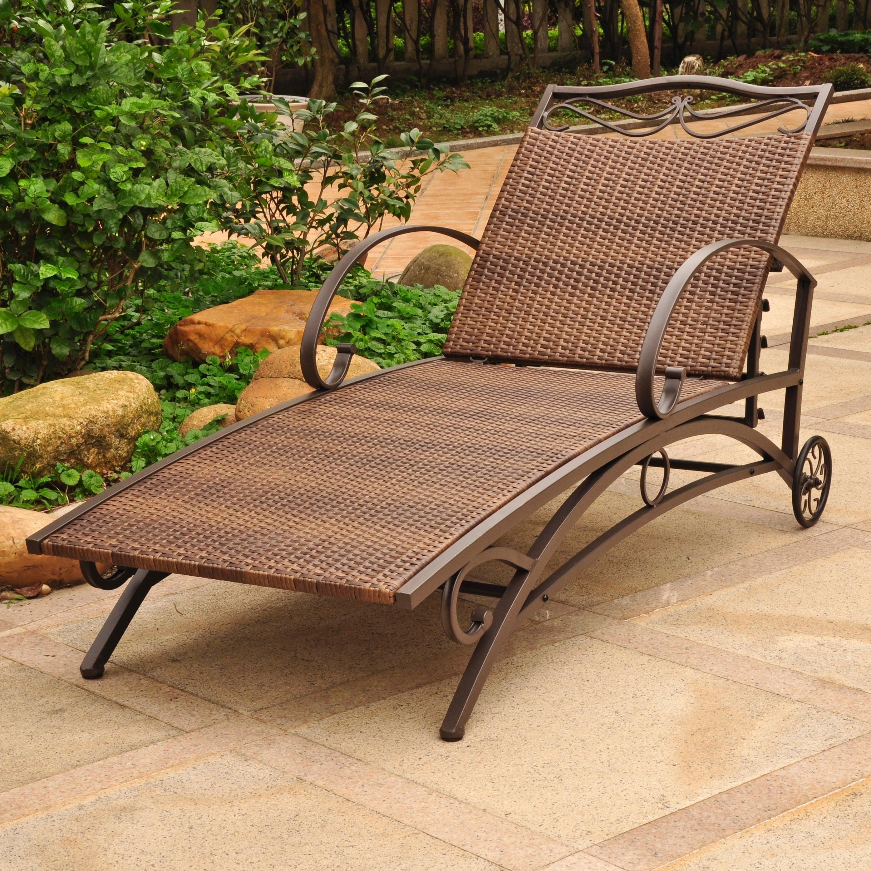 International caravan valencia resin wicker steel frame multi position chaise lounge