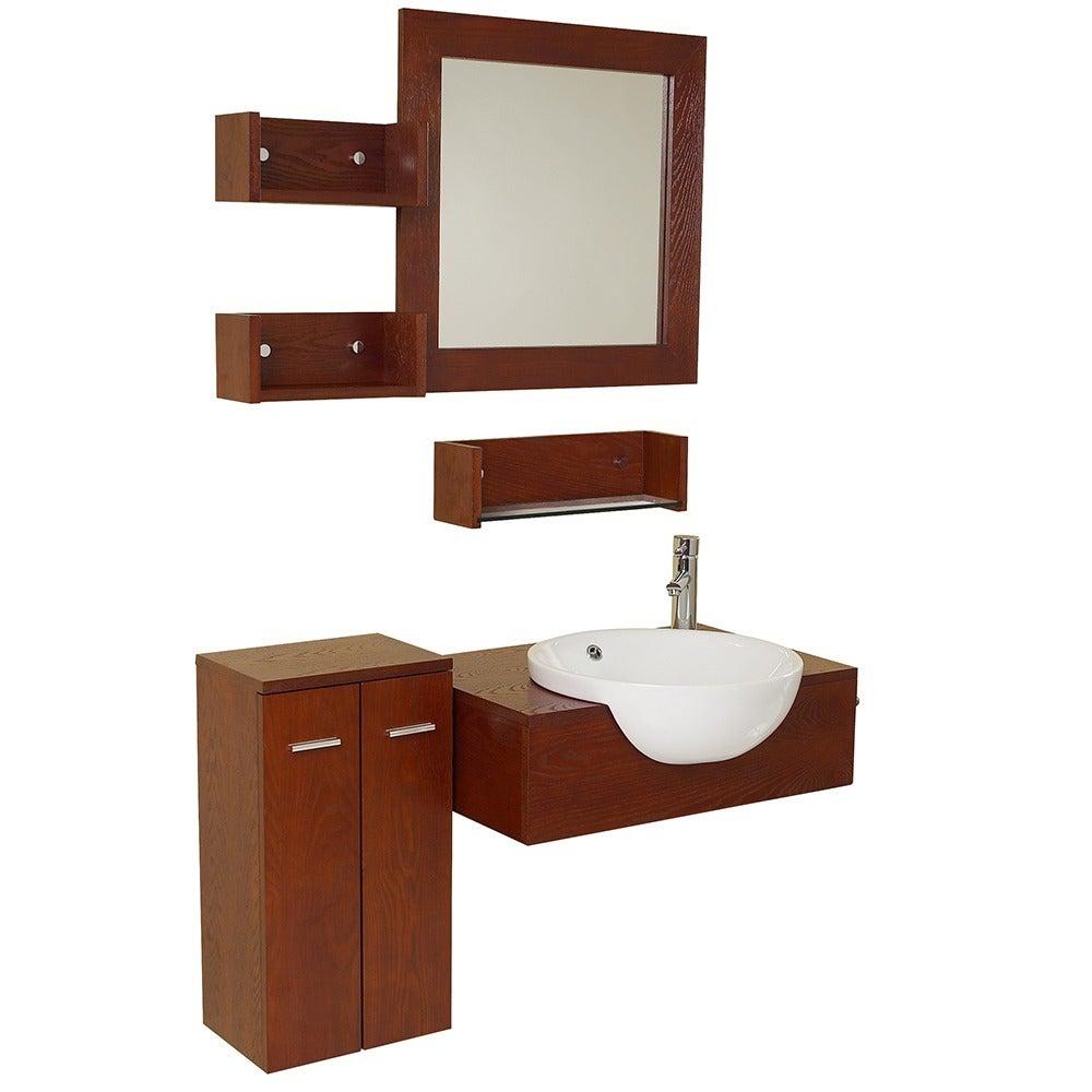 Shop Fresca Stile Oak Modern Bathroom Vanity with Mirror and Side ...