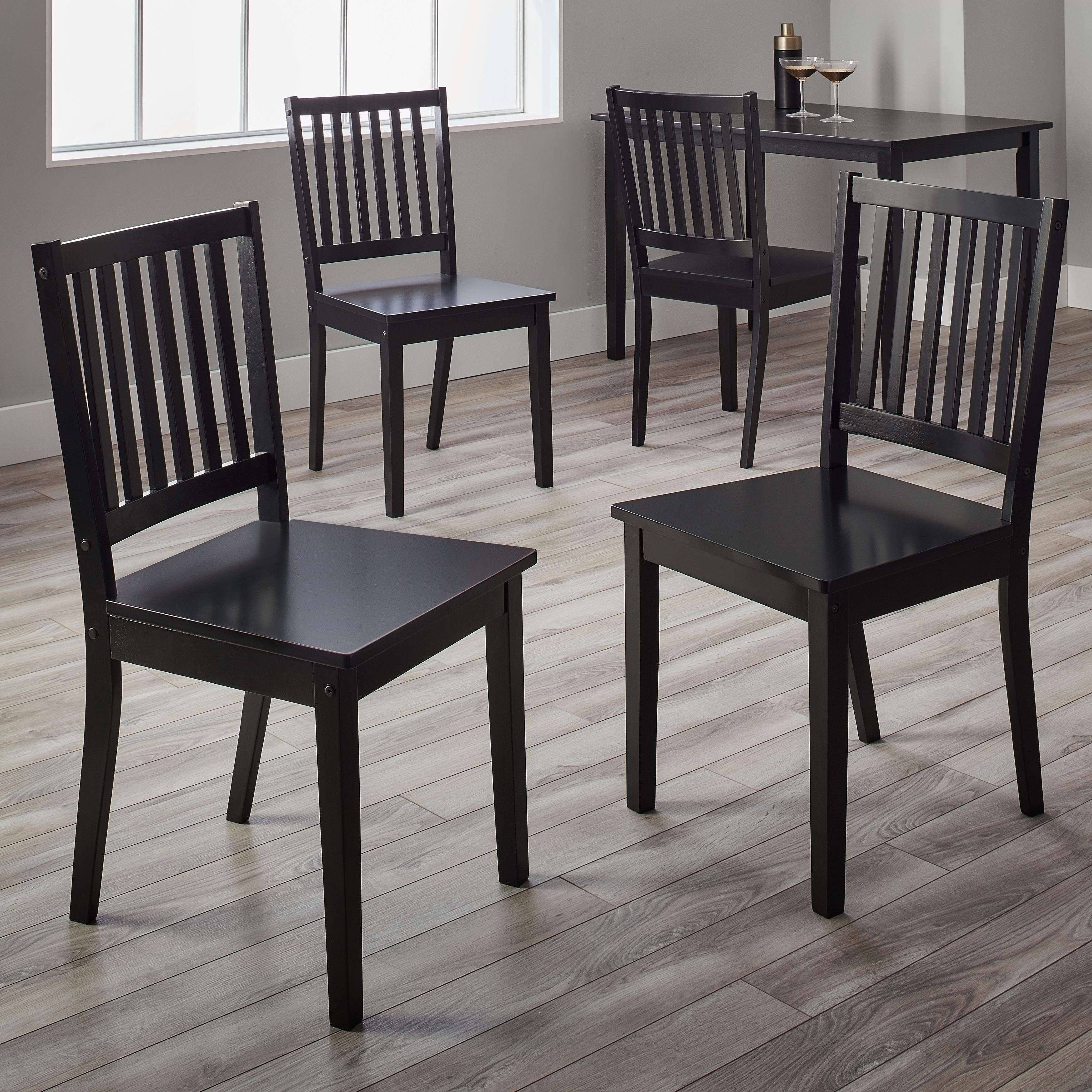 Simple living slat black rubberwood dining chairs set of 4