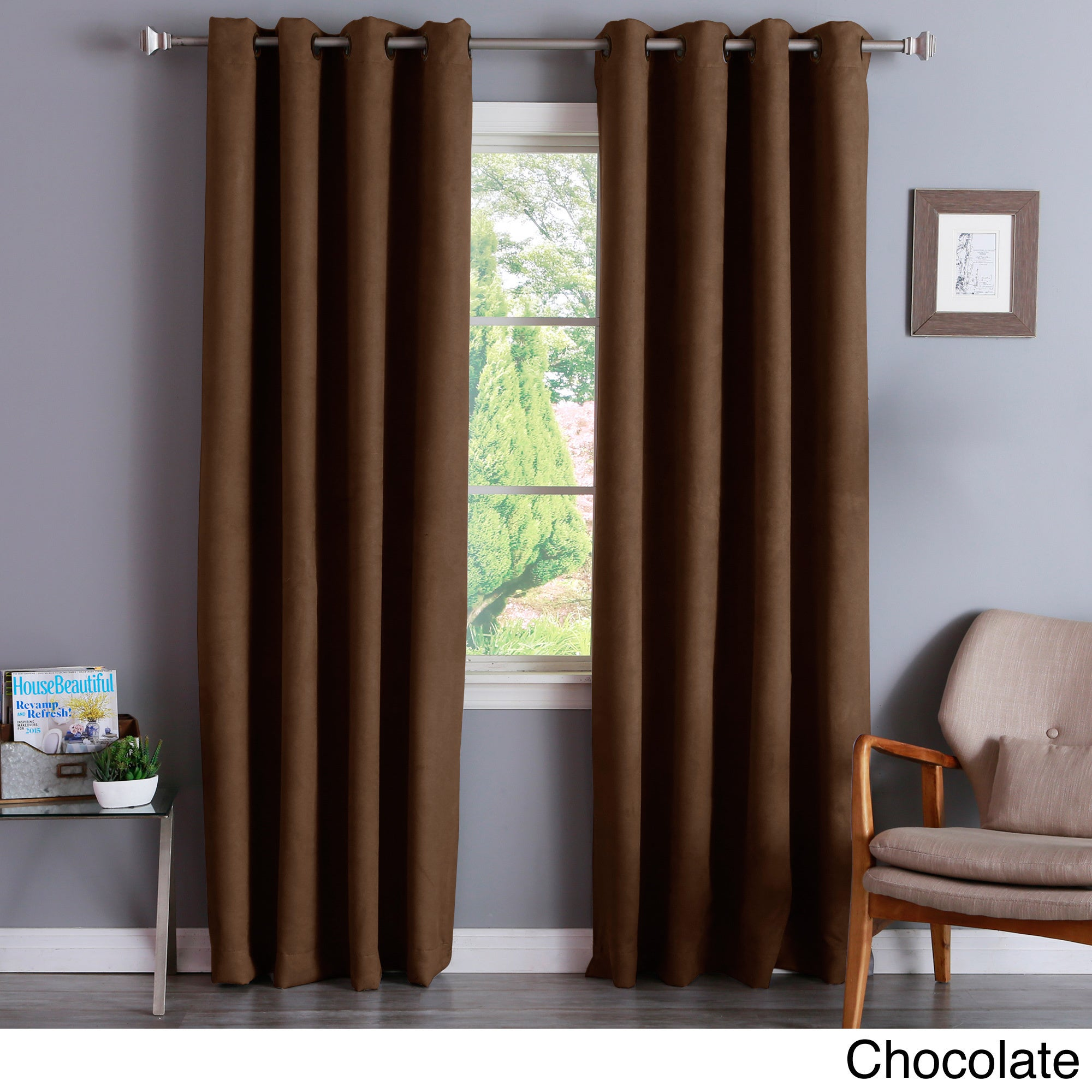 Shop Aurora Home Faux Suede 84-inch Insulated Blackout Curtain Pair ...