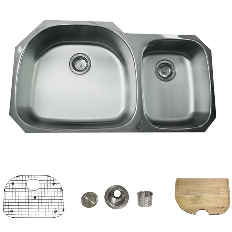stainless steel 38 inch undermount 70 30 2 bowl kitchen sink   free shipping today   overstock com   13038961 stainless steel 38 inch undermount 70 30 2 bowl kitchen sink      rh   overstock com