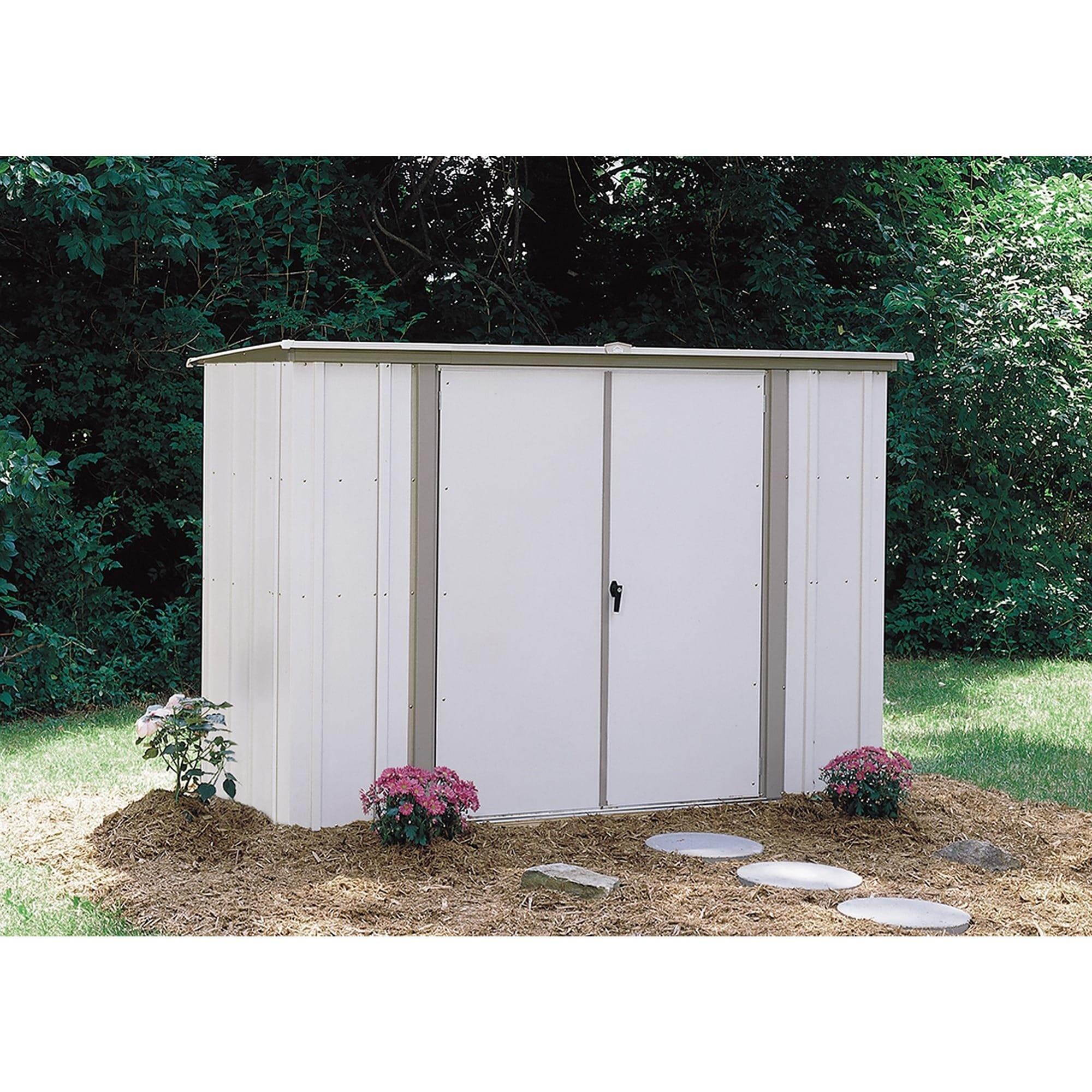 Arrow GS83 C Eggshell Galvanized Steel Garden Shed (8u0027 X 3u0027)   Free  Shipping Today   Overstock   13041757