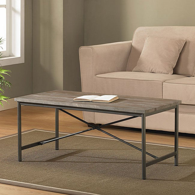 Elements Cross Design Reclaimed Look Coffee Table   Free Shipping Today    Overstock.com   13045305