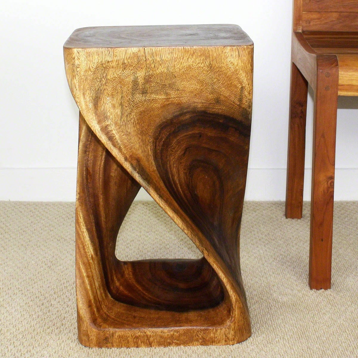 Handmade 12 Inches Square X 20 Inch Wooden Hand Carved Walnut Oil Twist Stool Thailand On Free Shipping Today 5221190