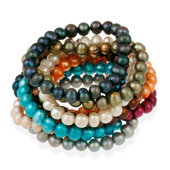 Glitzy Rocks Colored Freshwater Pearl Stretch Bracelet 8 9 Mm On Free Shipping Orders Over 45 5221957