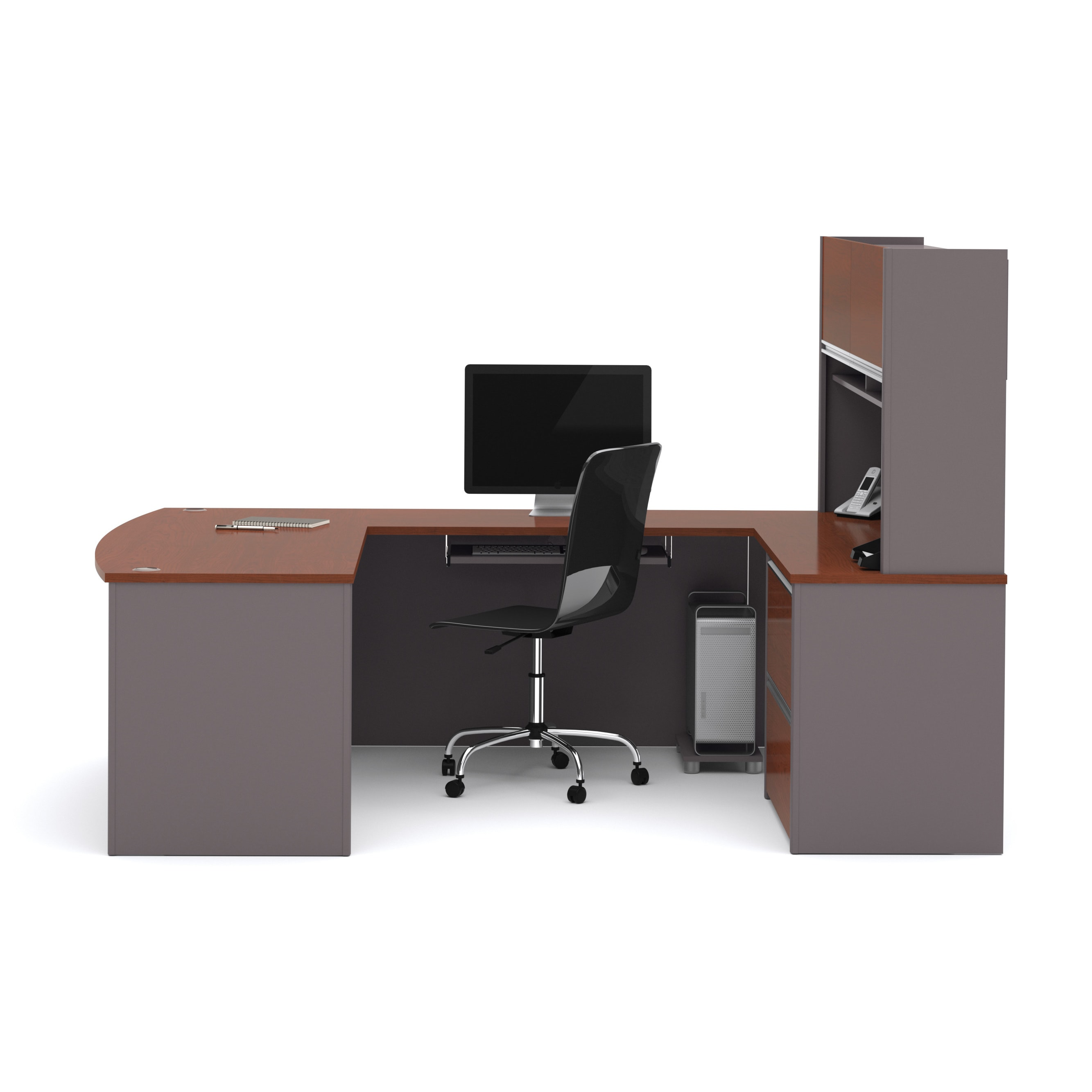 shape shaped u merritt all desk with office amazing hutch design style