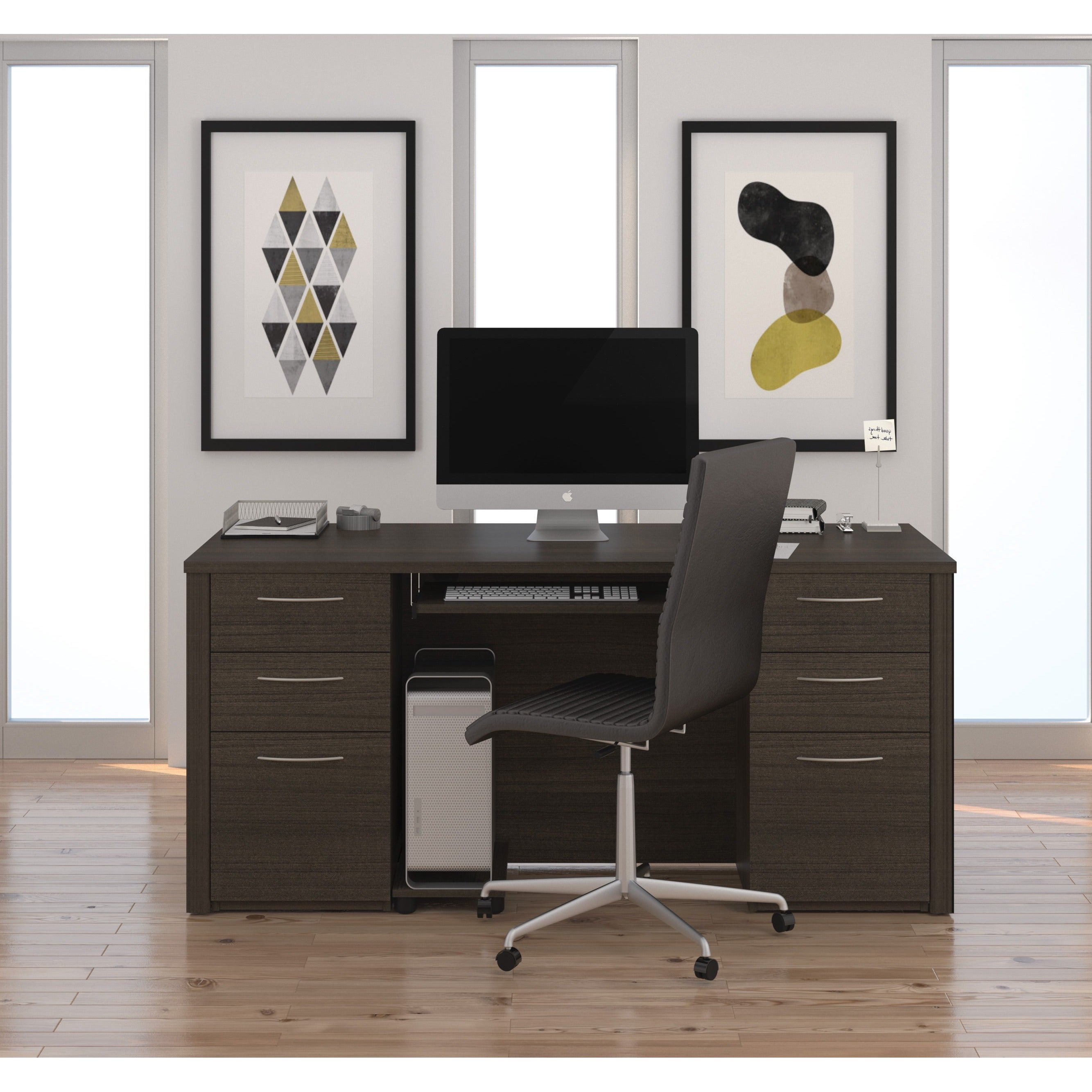 Bestar Emby Collection Laminate Double Pedestal Office Desk