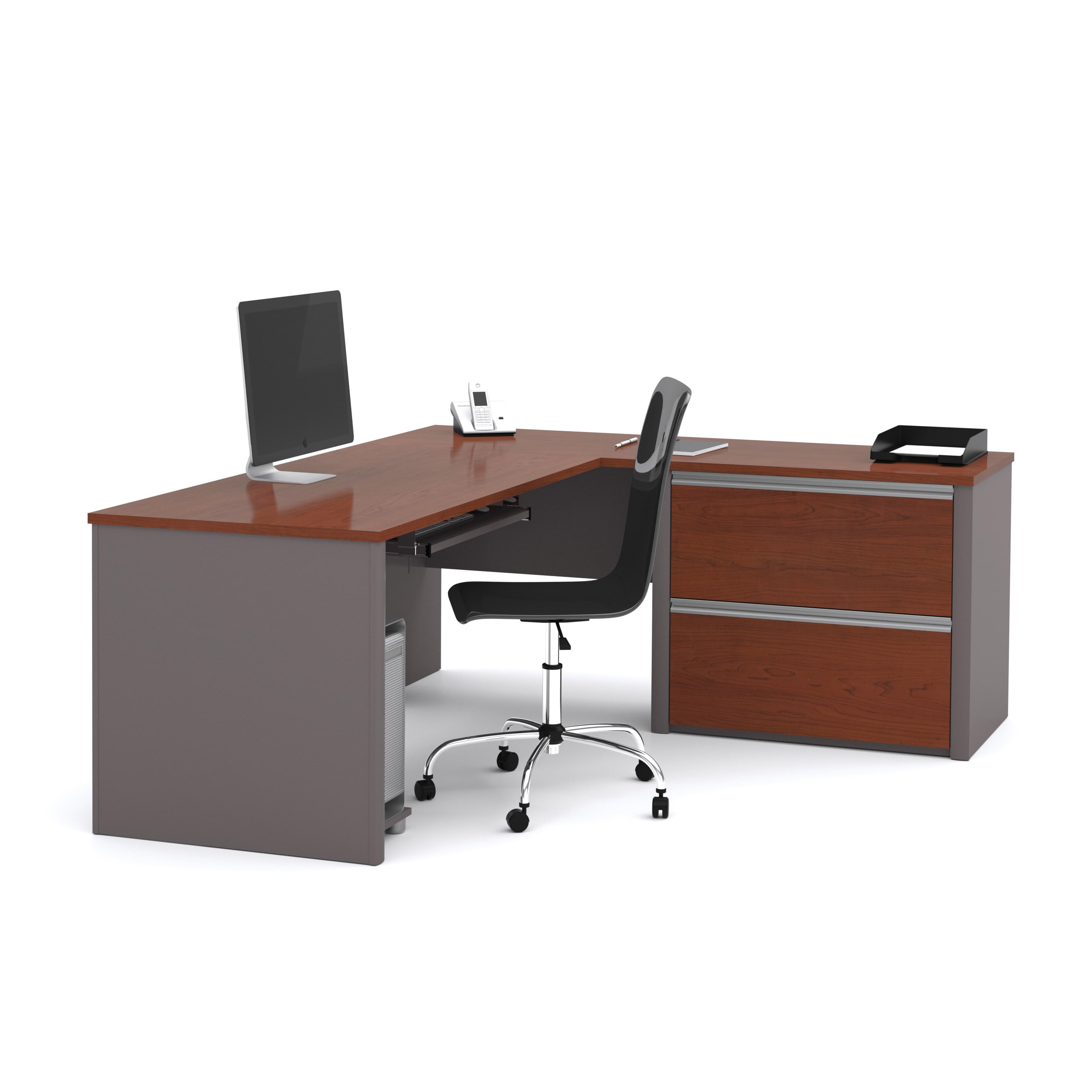 Shop Bestar Connexion L Desk With Oversized Pedestal   Free Shipping Today    Overstock.com   5224316
