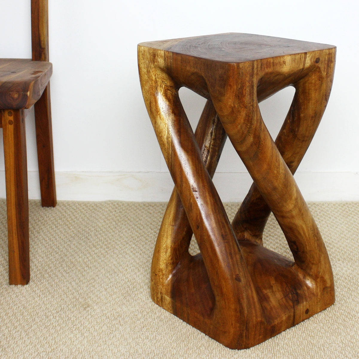 Shop Handmade Wood Vine Twist Stool (Thailand)   On Sale   Free Shipping  Today   Overstock.com   5224897