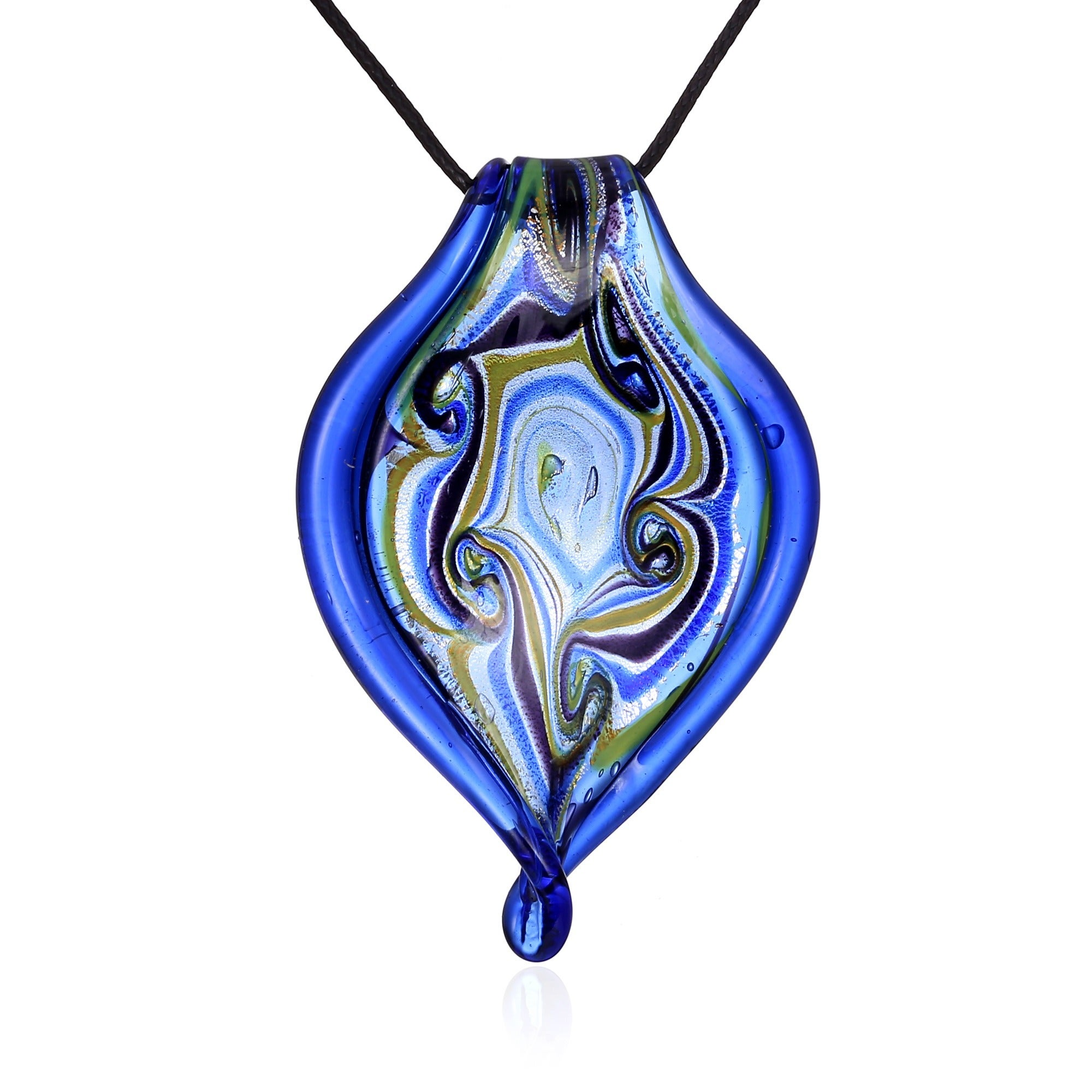 shipping pendant inspired jewelry product overstock orders over swirl twisted on glass blue free watches murano leaf