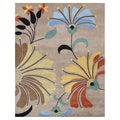Alliyah Handmade Flower Beige New Zealand Blend Wool Rug (9' x 12')
