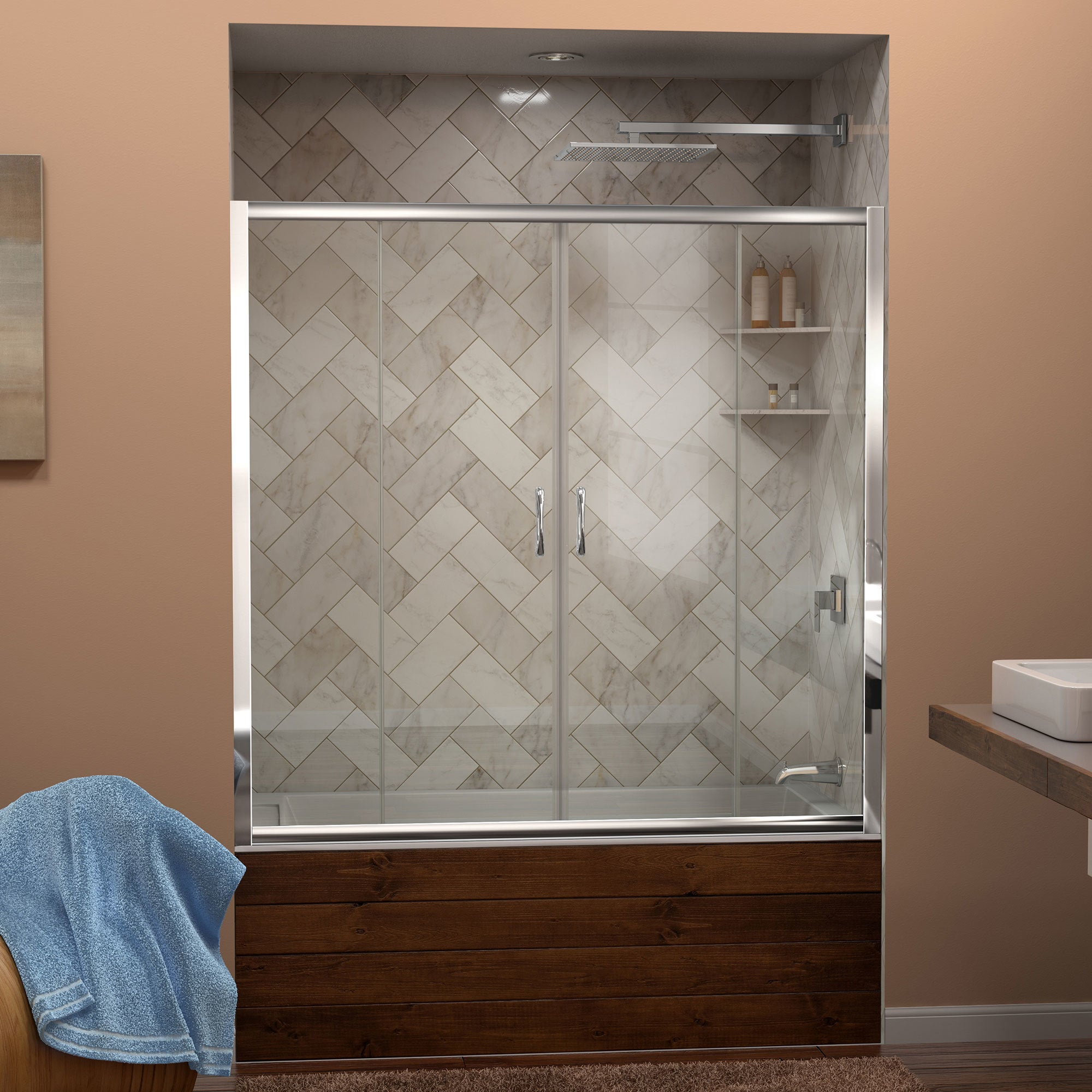 DreamLine Visions 56 to 60 in. Frameless Sliding Tub Door - Free ...