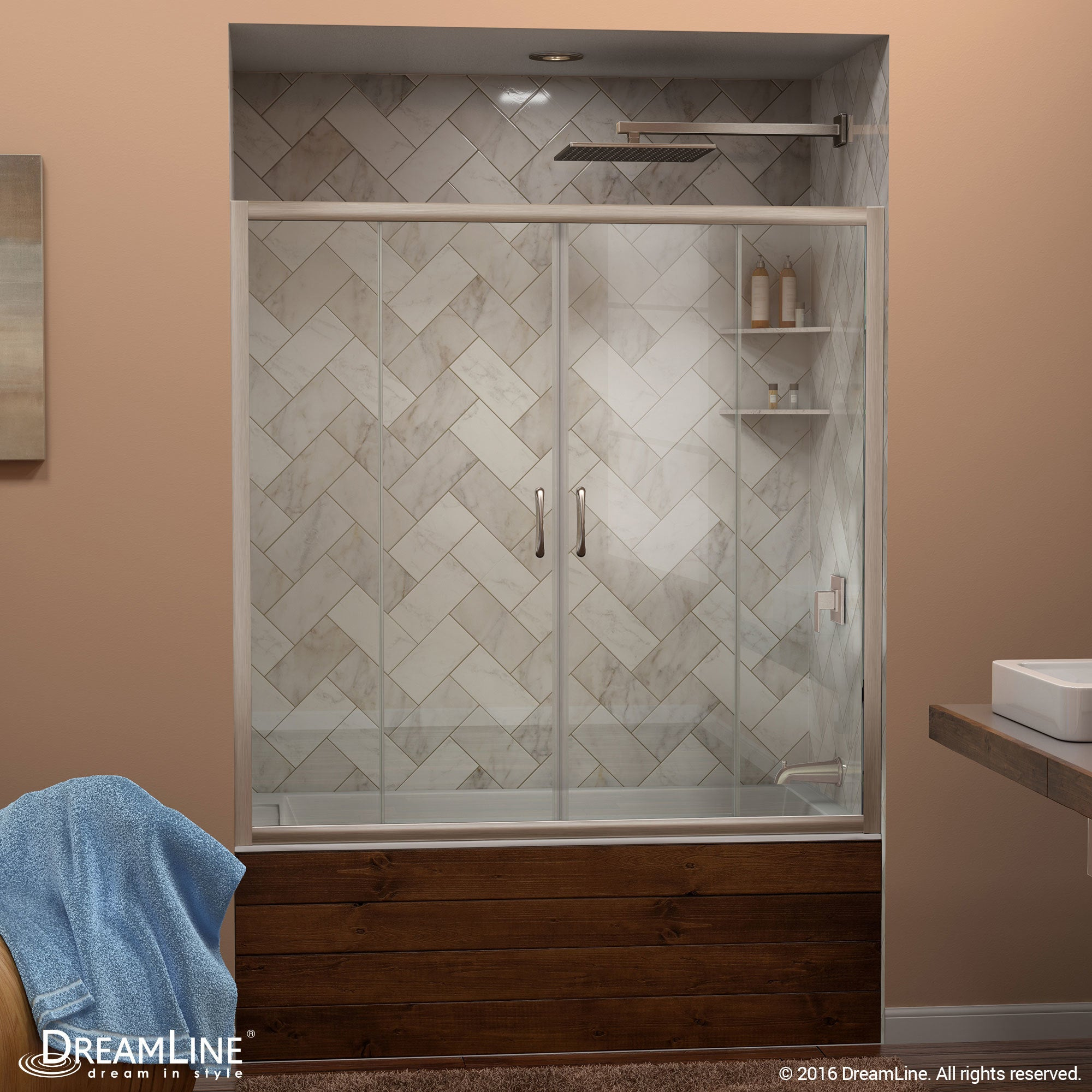 Shop Dreamline Visions 56 To 60 In Frameless Sliding Tub Door