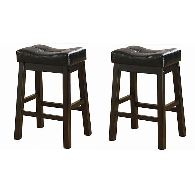 Black 24 Inch Bicast Leather Counter Height Saddle Bar Stools Set Of 2