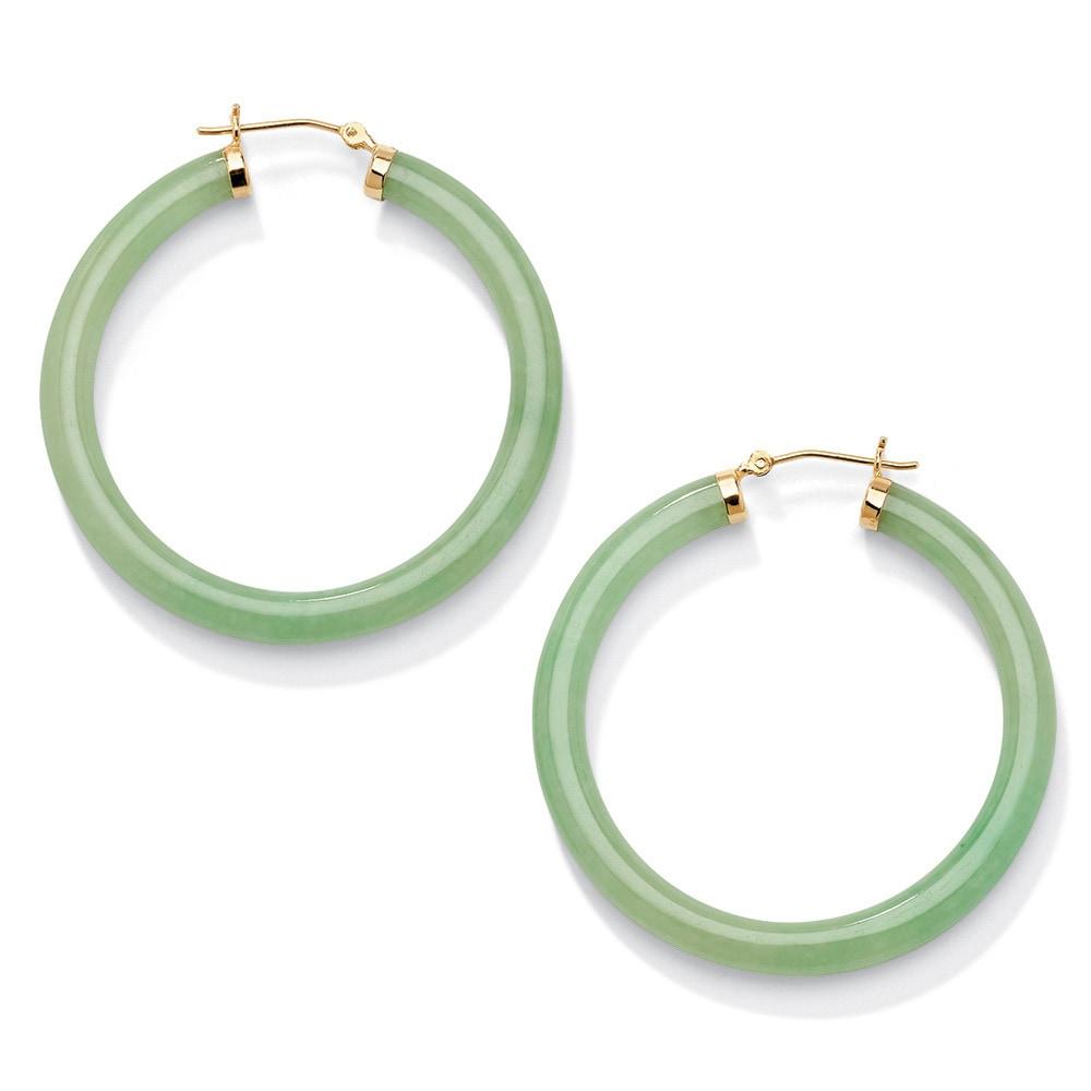 Shop Genuine Green Jade 10k Yellow Gold Hoop Earrings Naturalist