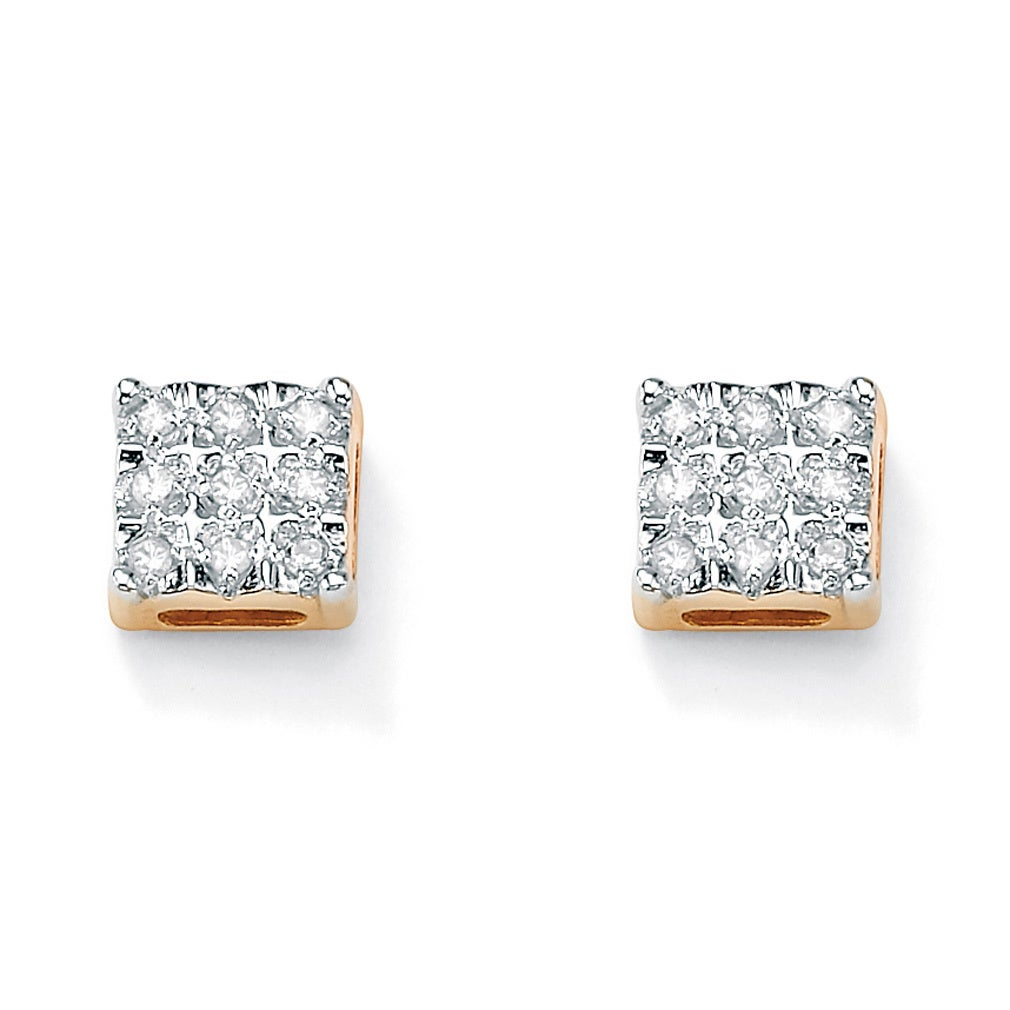 mens earrings square solid shaped yellow diamond stud in and ctw gold white