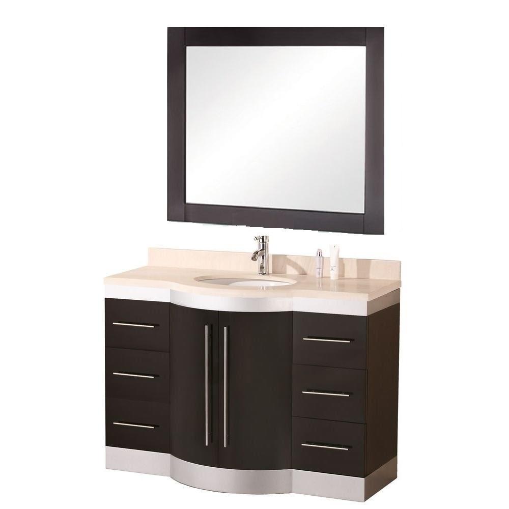 Shop Design Element Tuscany Single Sink Beige Stone Bathroom Vanity   Free  Shipping Today   Overstock.com   5266324