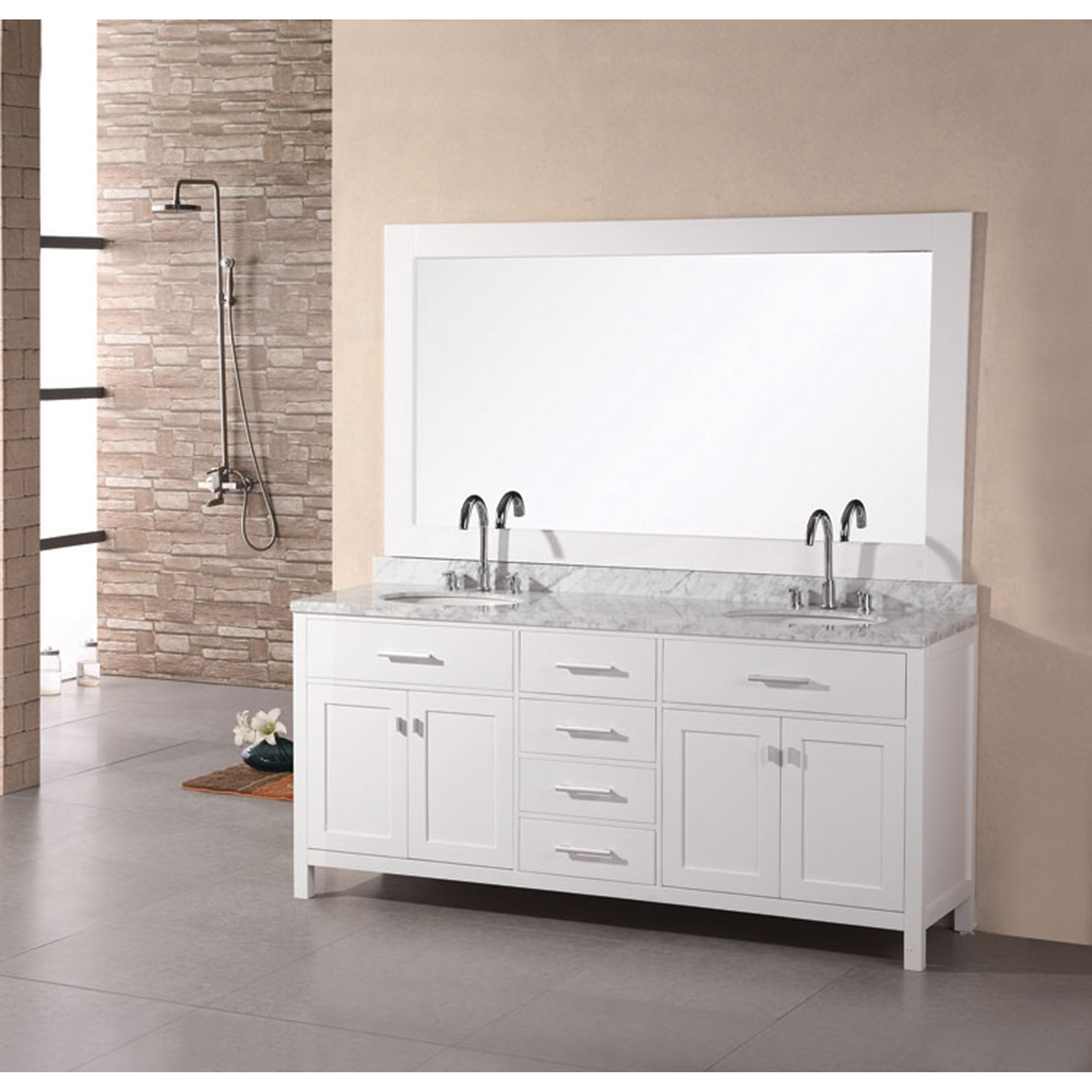 Awesome Design Element London 72 Inch White Double Sink Bathroom Vanity Home Remodeling Inspirations Genioncuboardxyz