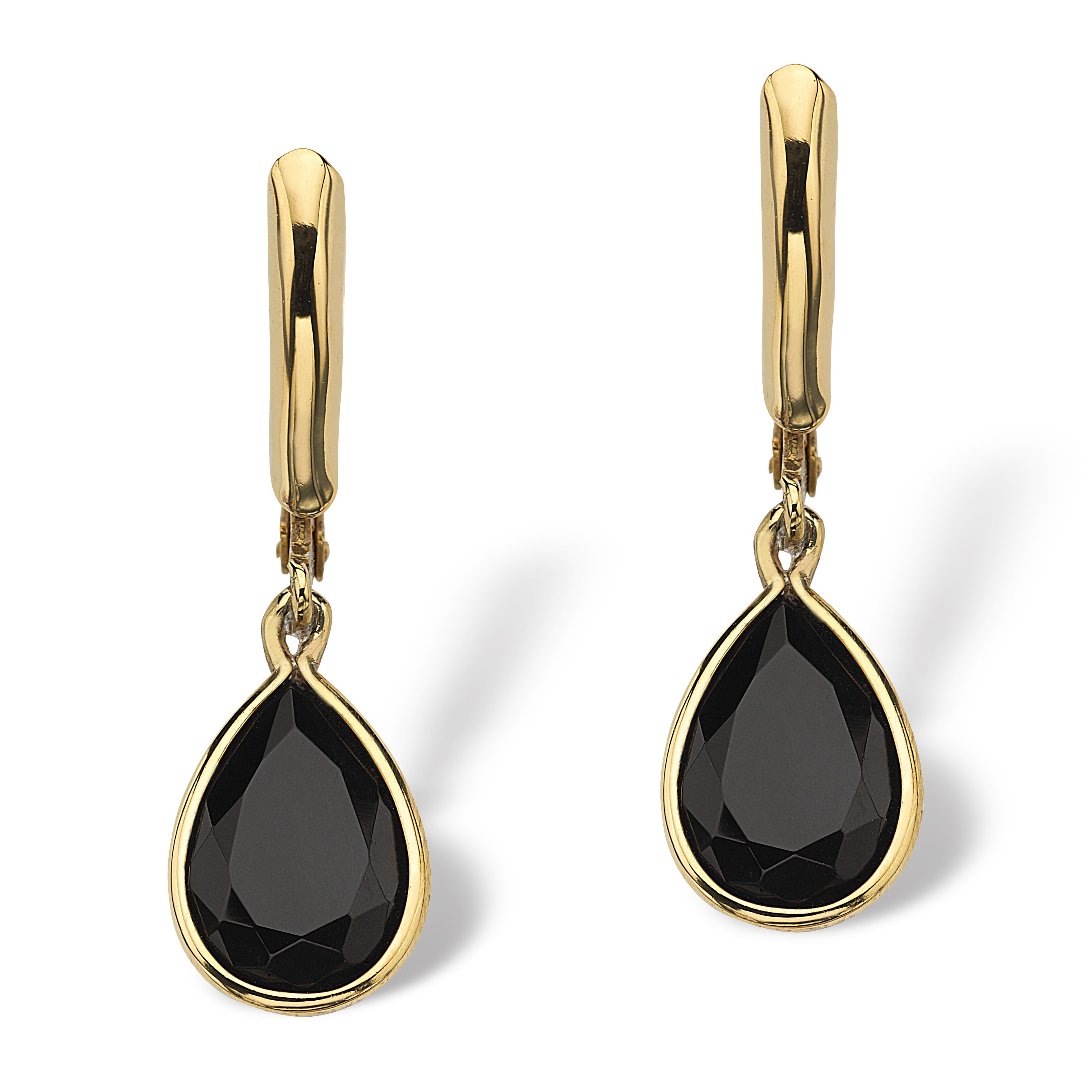Yellow Gold Plated Drop Earrings 29x8 5mm Pear Cut Natural Black Onyx On Free Shipping Orders Over 45 5267597